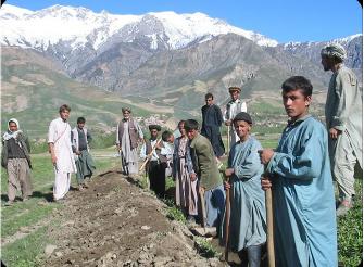 Matt with workcrew in Afghanistan