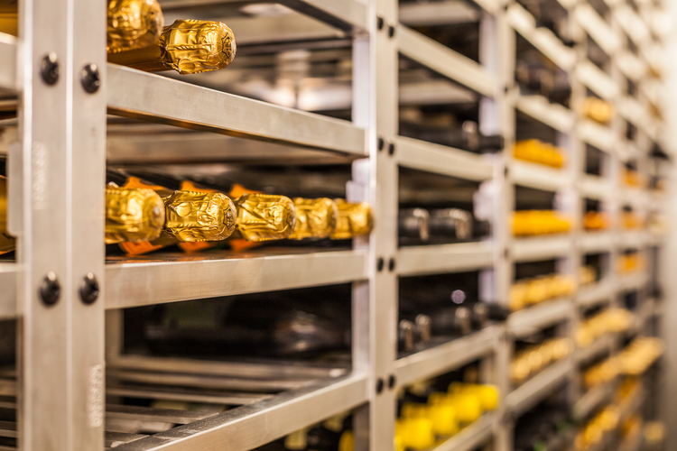 The wine cellar at Rancho Valencia Spa and Resort uses a custom fabricated aluminum rack system we designed to hold 6,000 bottles.