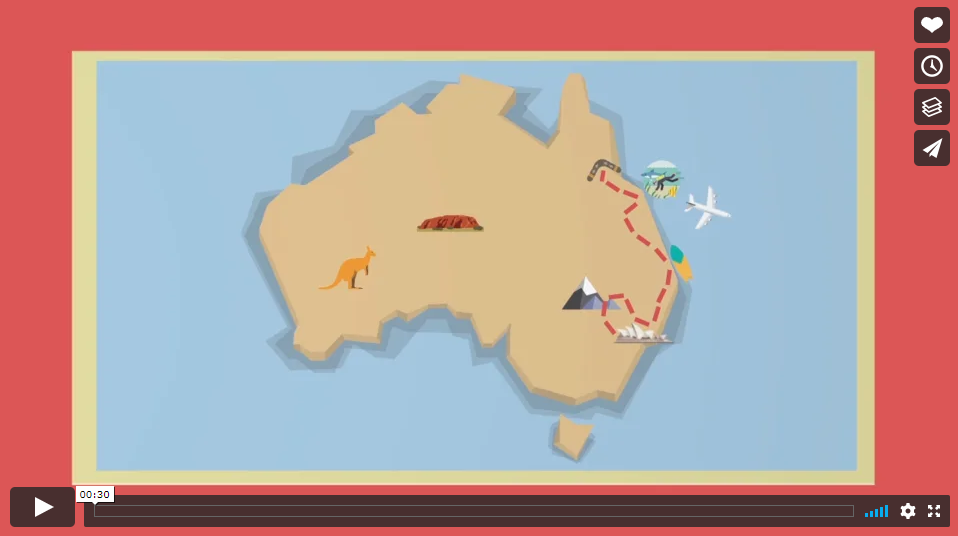 2D Animation - This is a quick 2d animation sequence of my trip to Australia using Adobe After Effects and Illustrator to create the animation.