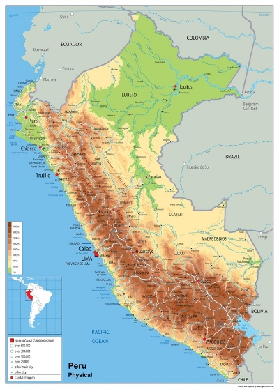 THE COUNTRY - Peru is twice the size of Texas, slightly smaller than Alaska.79% of the population lives in coastal areas which includes Lima, the capital.The country has an active volcano, the Ubinas, which last erupted in 2009.