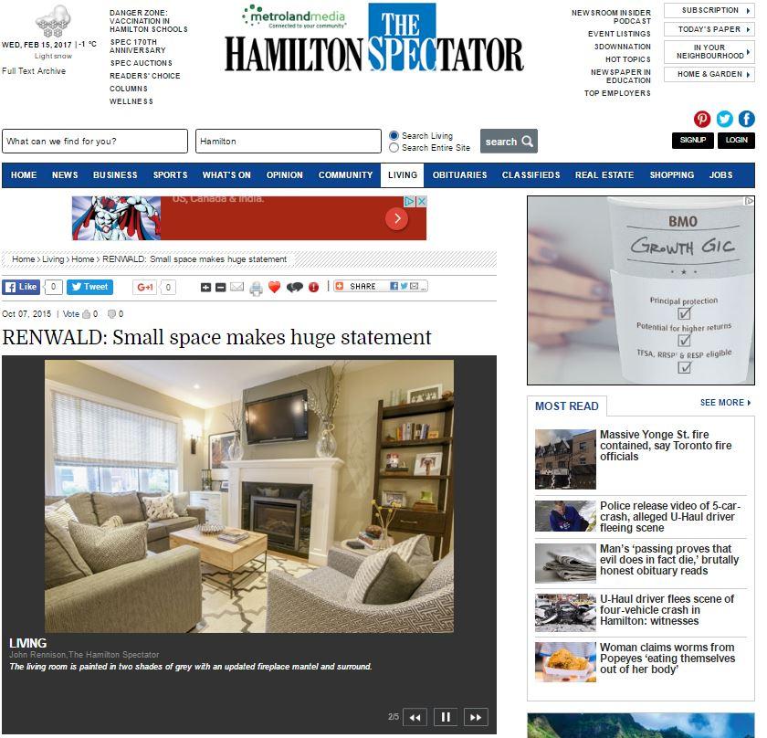 HAMILTON SPECTATOR - Small Space makes huge statement