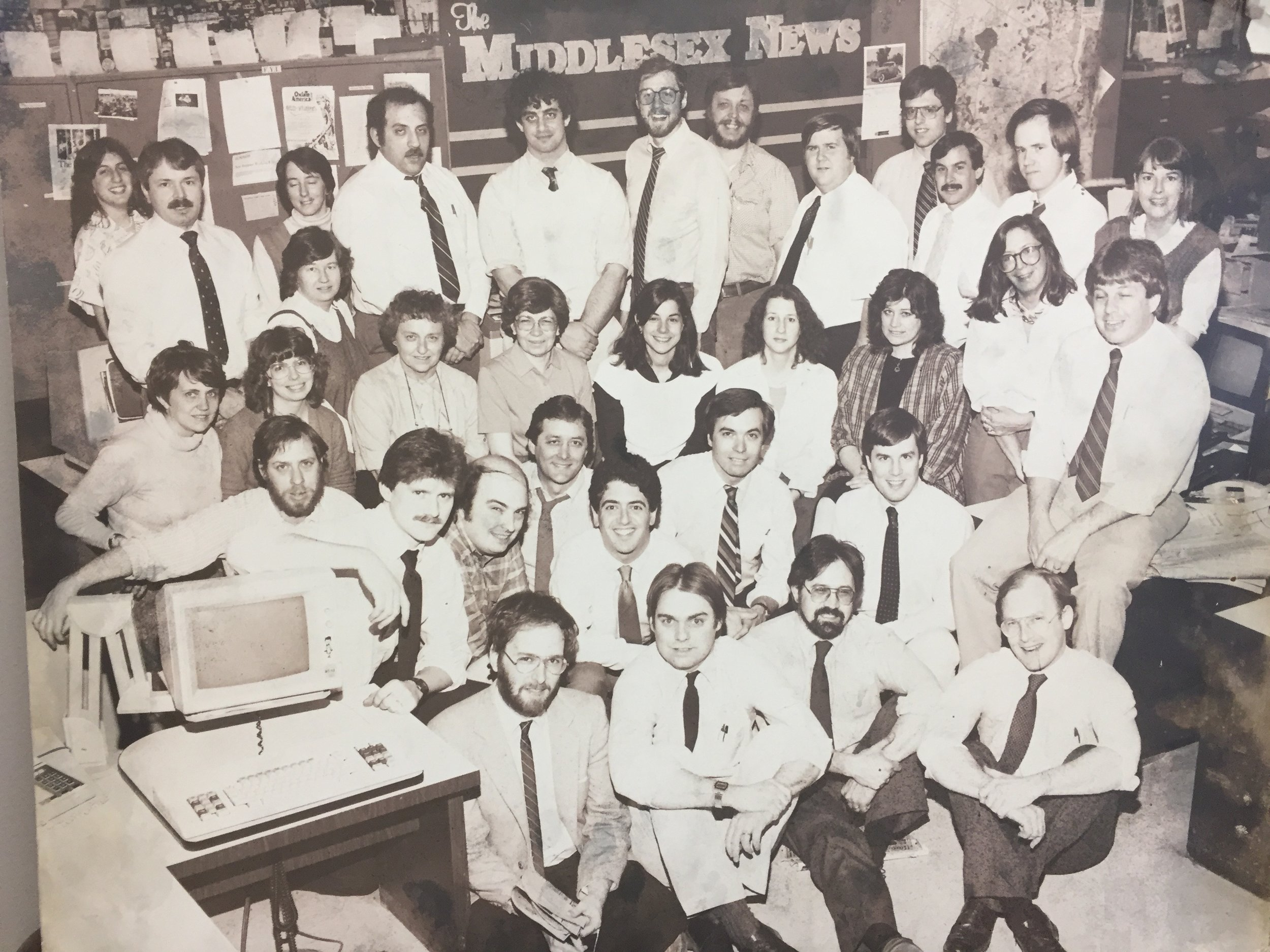 Most of the newsroom staff at the Middlesex News, circa 1986