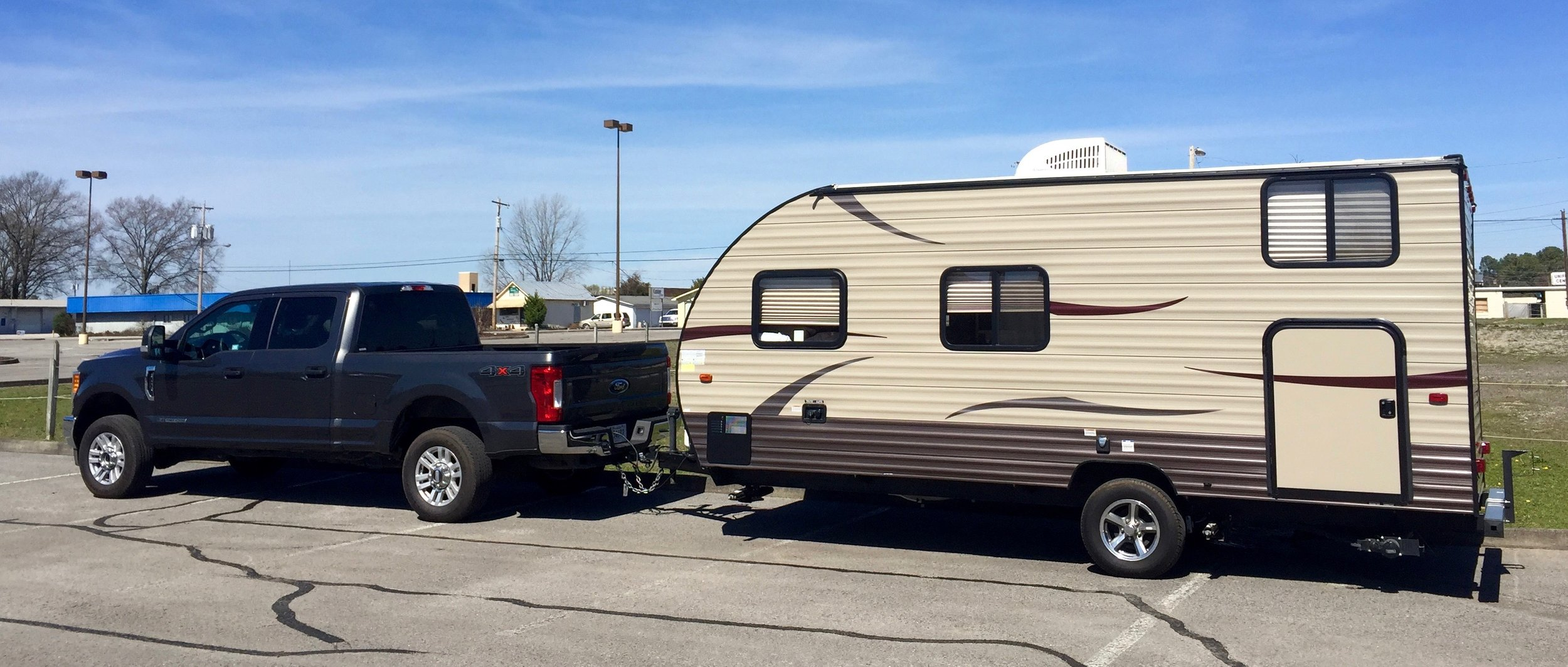 The mismatched truck/trailer rig we rented for 10 days.