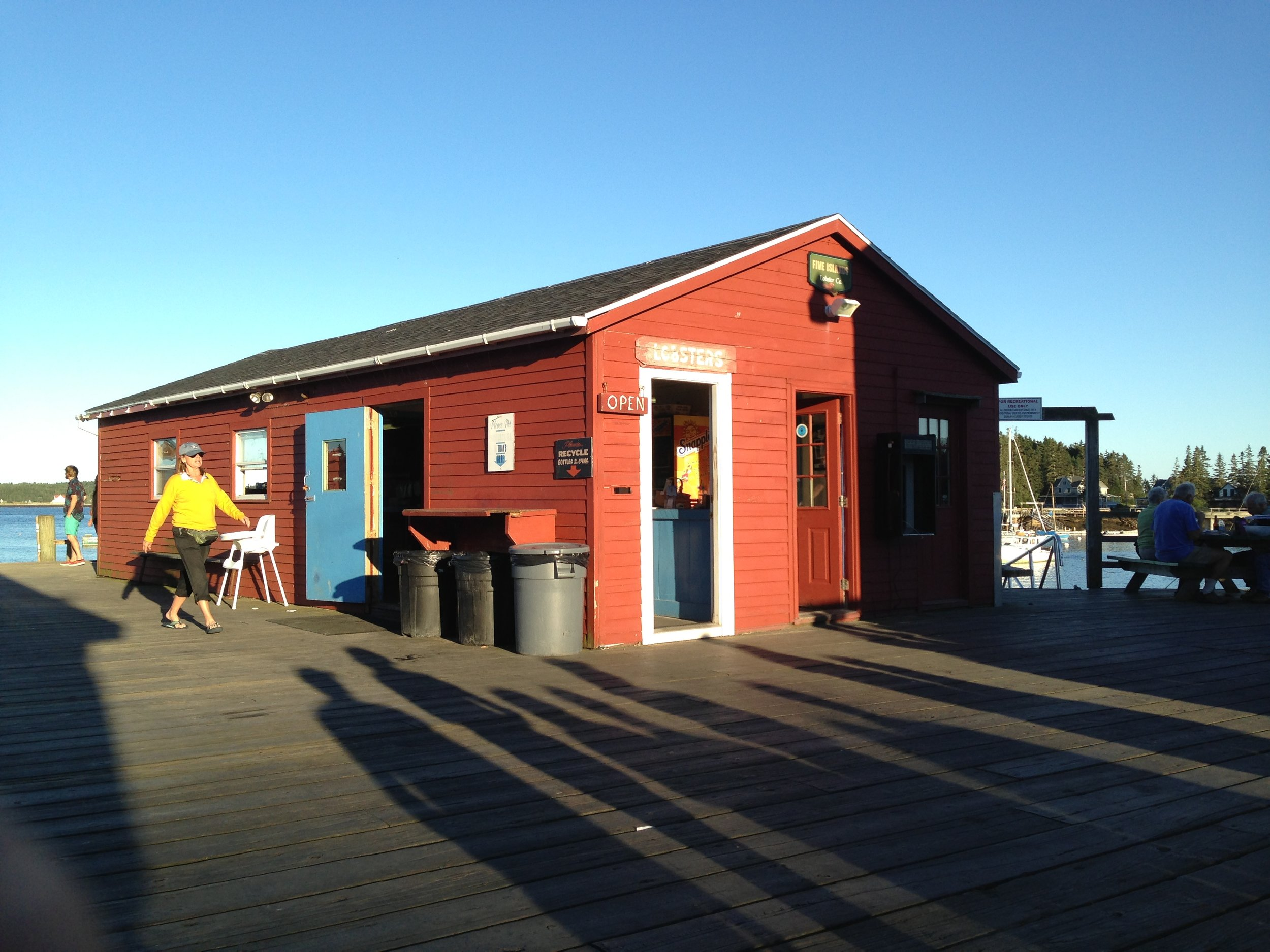 The lobster shack on the wharf at Five Islands, where it's just a few feet between from the ocean to your plate. Rick Holmes photo.