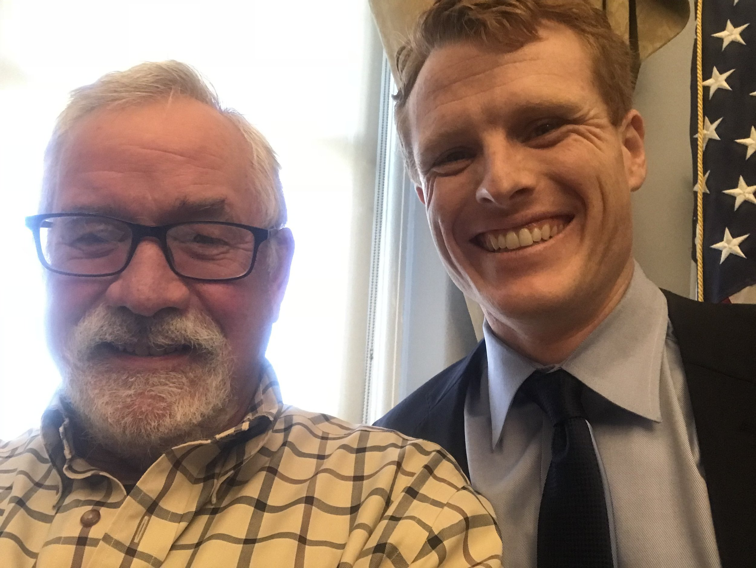 I've never cared to collect pictures of myself with politicians, but it's gotten so that politicians expect everyone to want a selfie, so I took one with Rep. Joe Kennedy III, D-Mass.