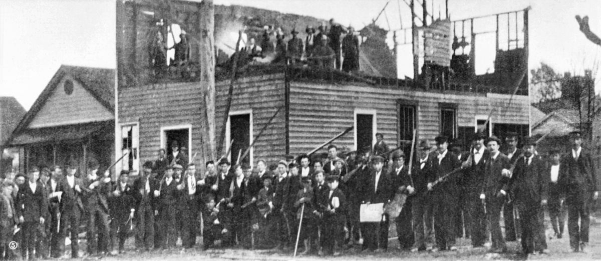 The mob that burned down the office of the Daily Record, the state's only black-owned newspaper, in Wilmington in 1898.