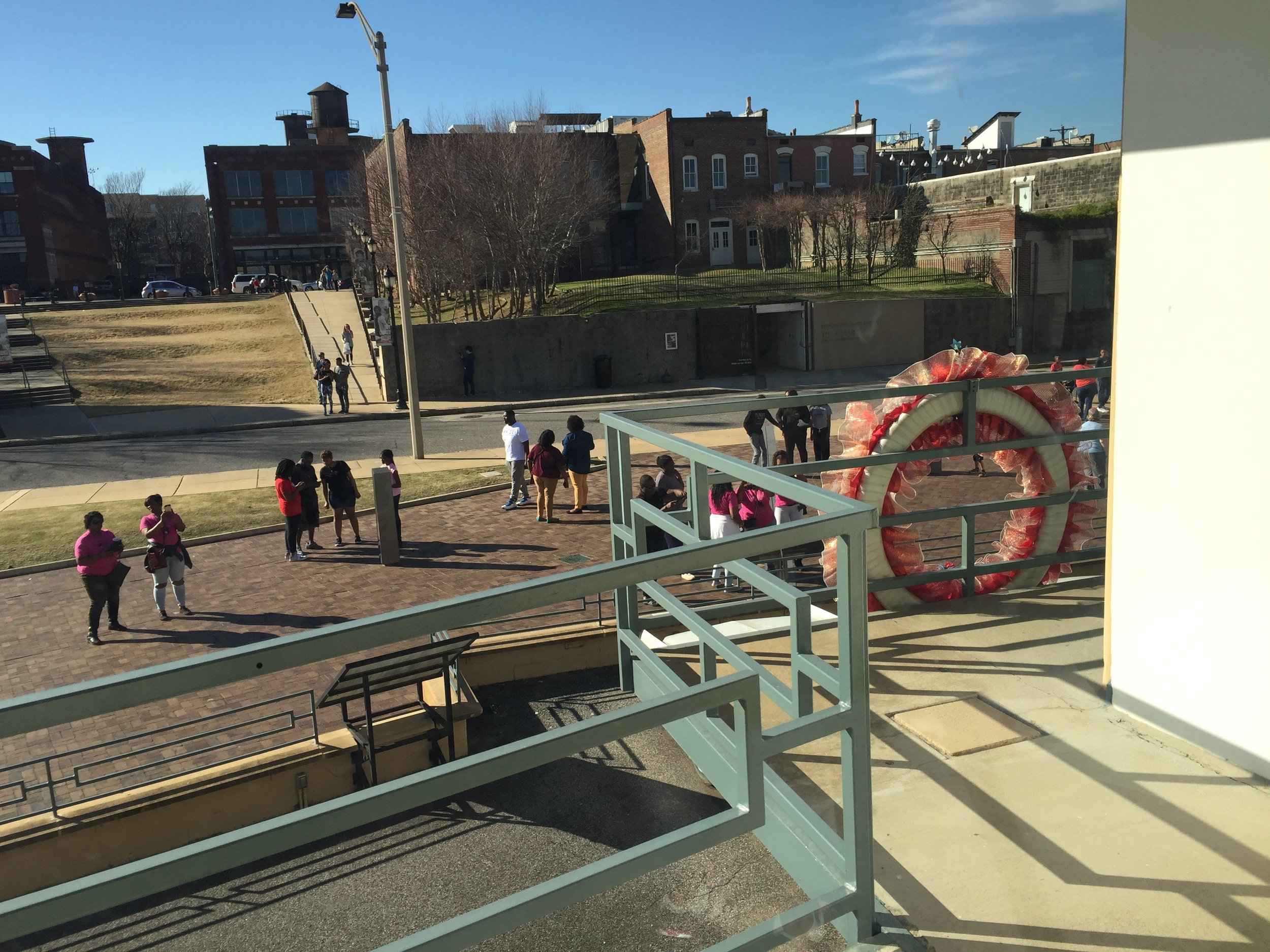 The view from the Lorraine Motel in Memphis, now part of the National Civil Rights Museum, shows the balcony where King was standing when he was assassinated in 1968. Photo by Rick Holmes
