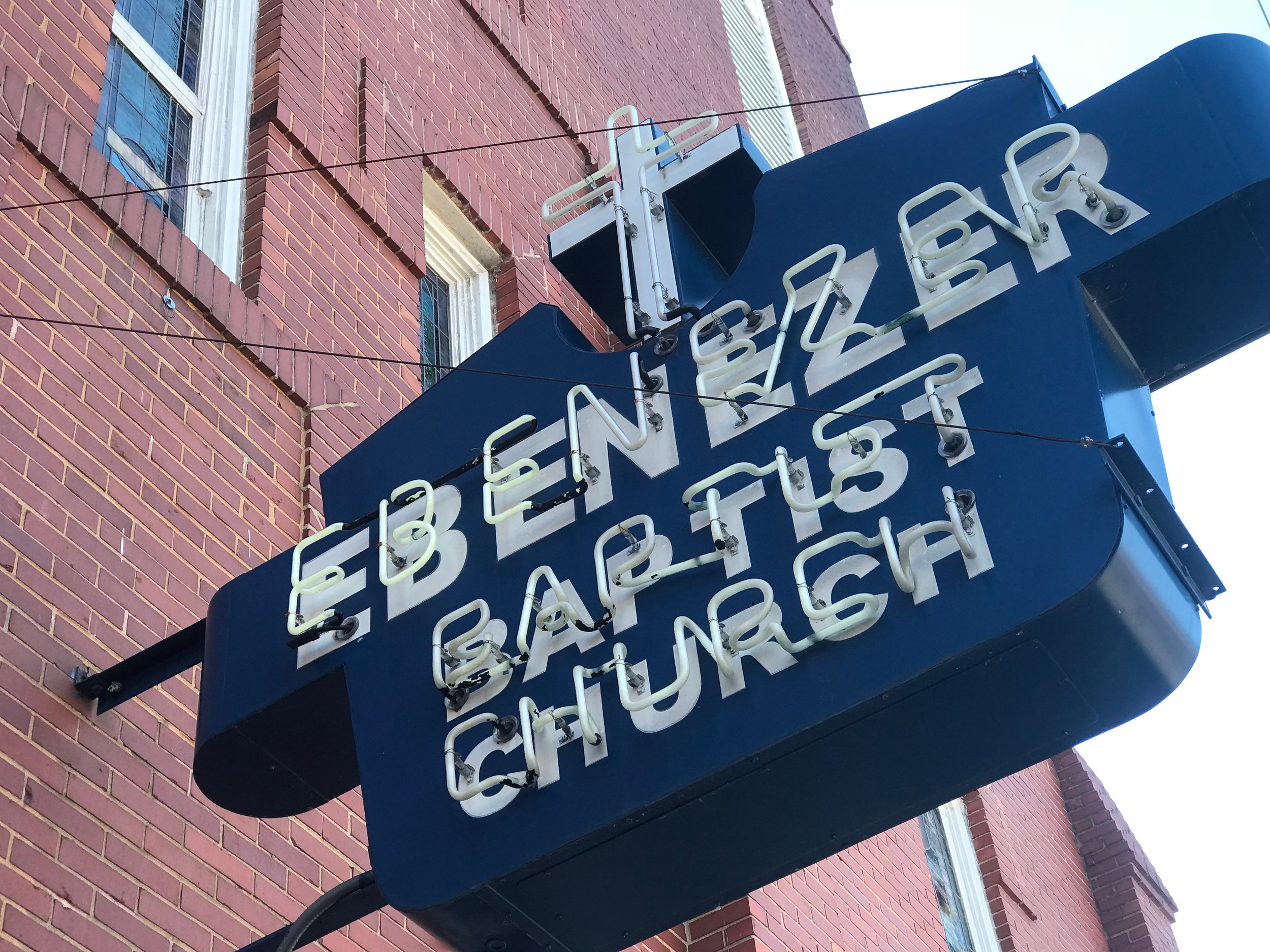 Atlanta: The voice of Dr. Martin Luther King Jr. can still be heard in the historic Ebenezer Baptist Church, which is now part of the National Park Service's MLK National Historic site. A new, larger Ebenezer Baptist Church has been built across the street
