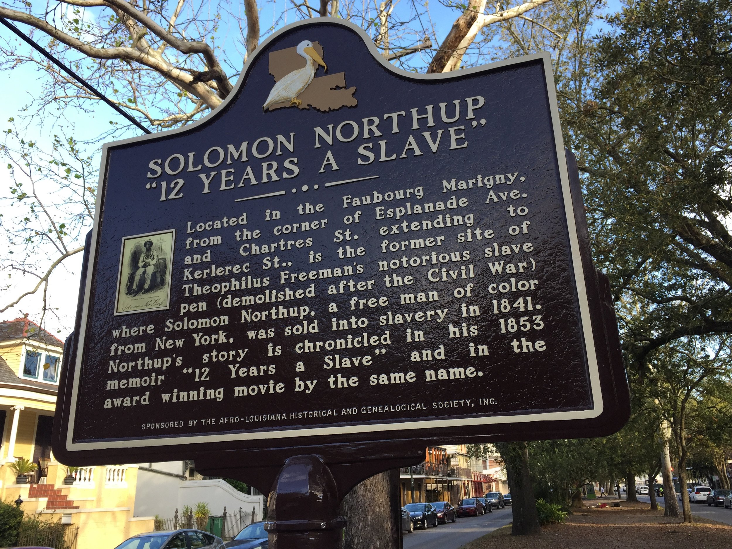 """New Orleans, La.: A historic marker notes where one of the city's notorious """"slave pens"""" was located."""