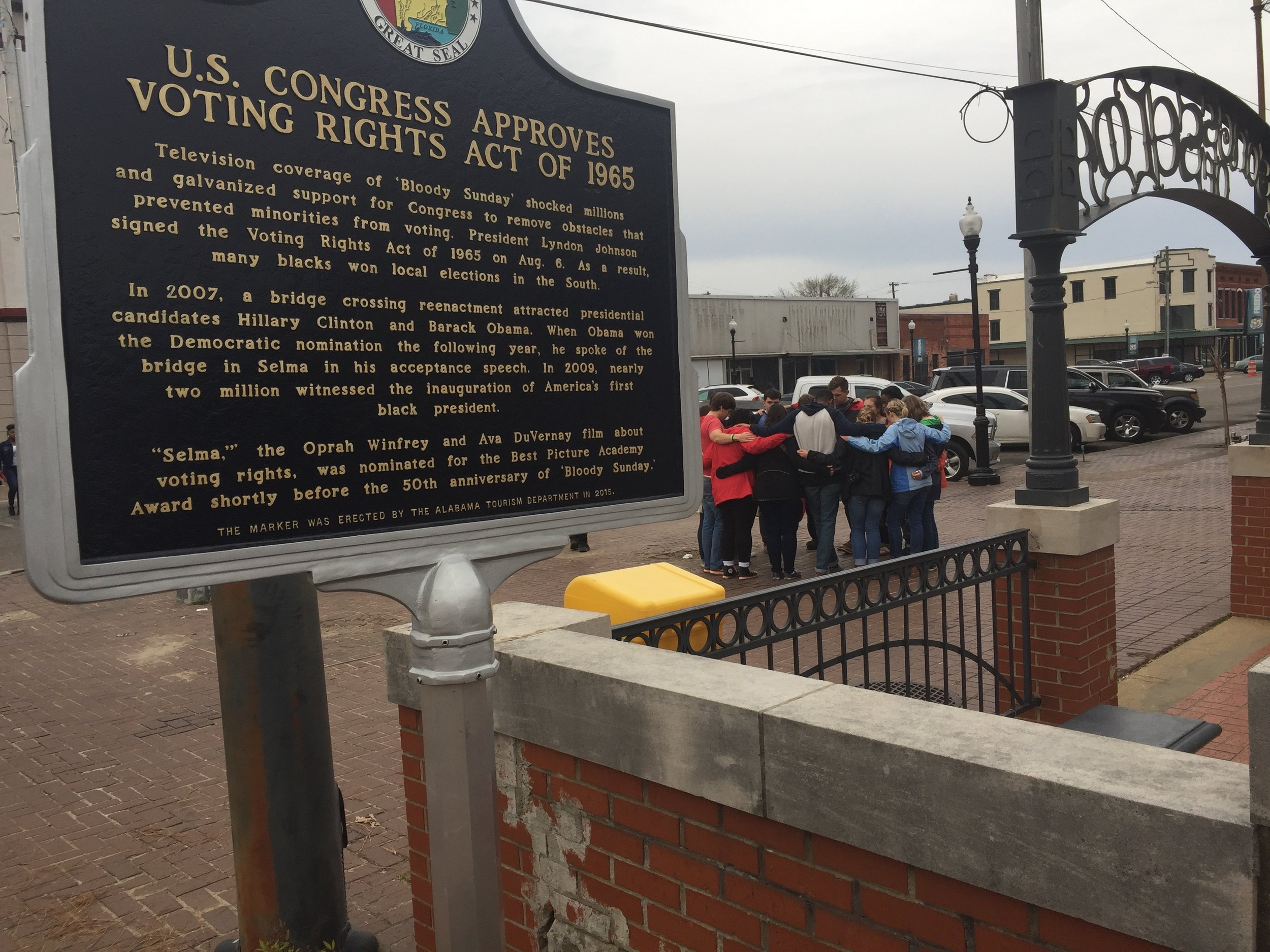 """Selma: A recently erected plaque near the Edmund Pettus Bridge, site of the 1965 """"Bloody Sunday"""" violence."""