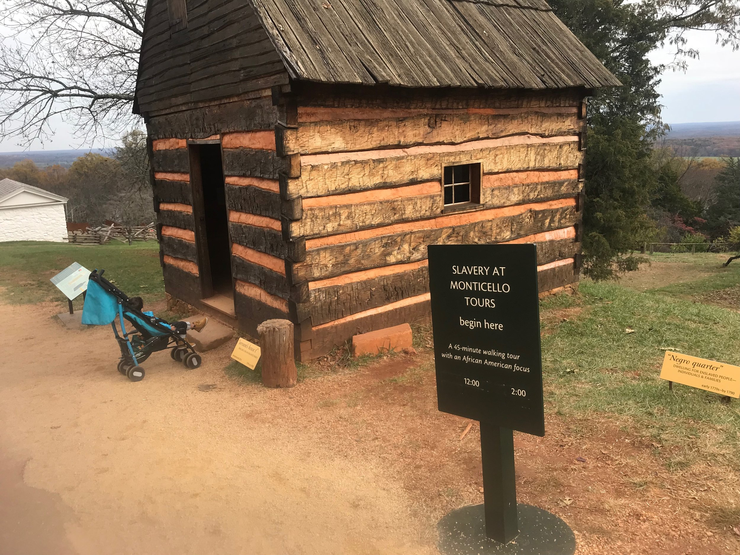 Monticello, Va.: A reconstructed slave quarters at the home of President Thomas Jefferson.
