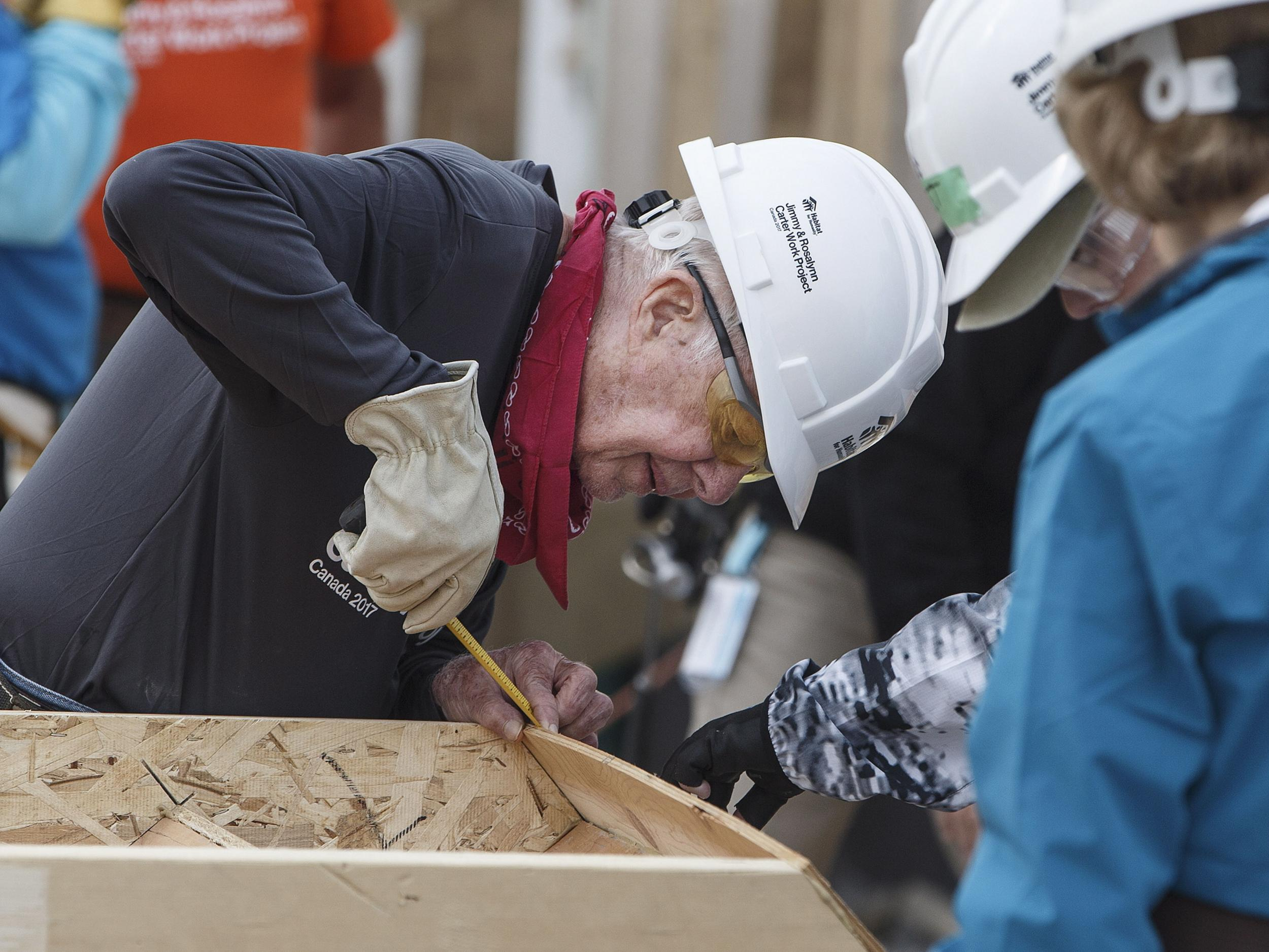 Jimmy and Rosalynn Carter have been volunteering with Habitat for Humanity for more than 40 years, helping build homes for needy families in the U.S. and abroad.