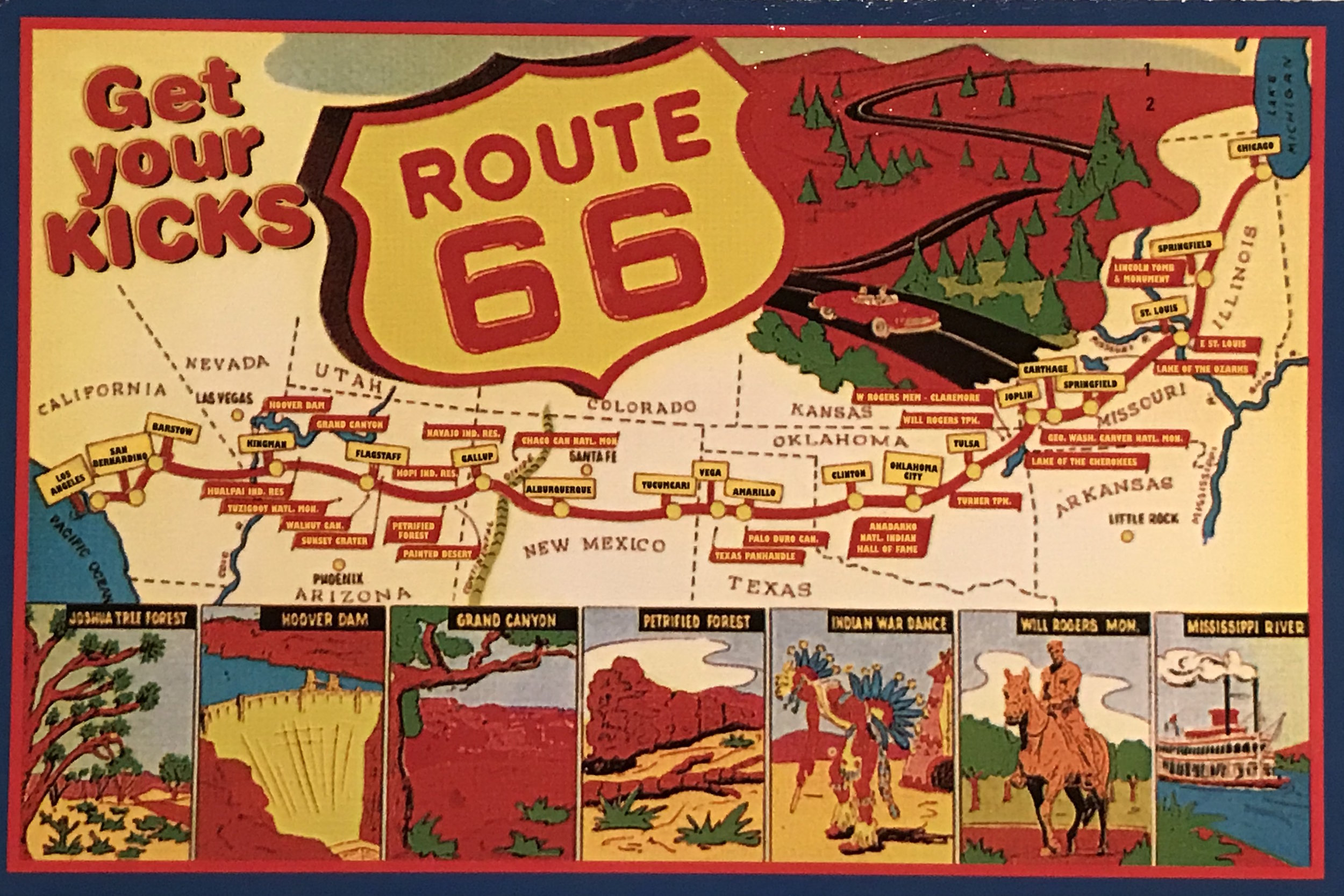 A vintage postcard shows the route of the now-defunct Route 66.