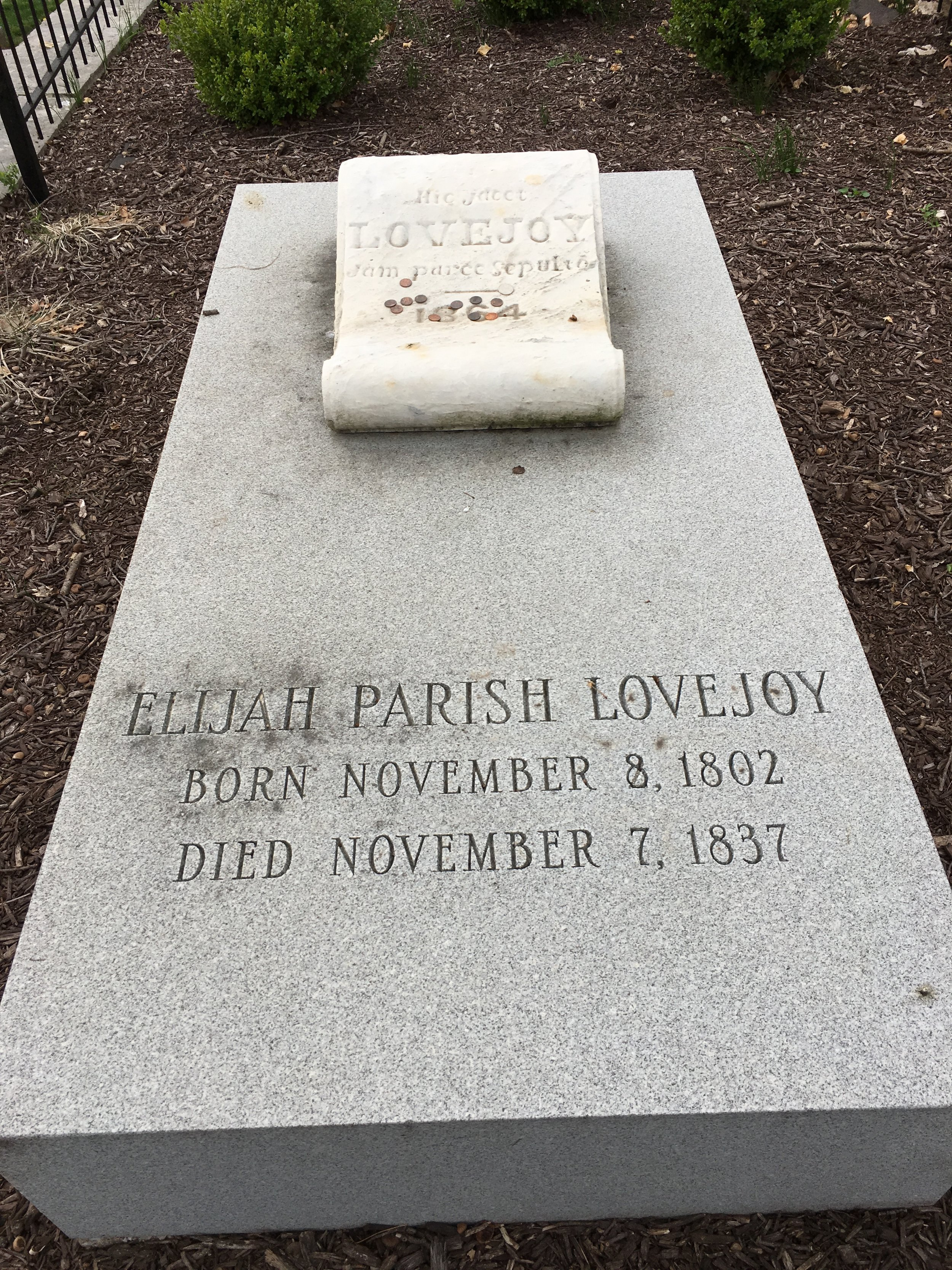 A grave marker near the monument to Elijah Parish Lovejoy in Alton, Ill.