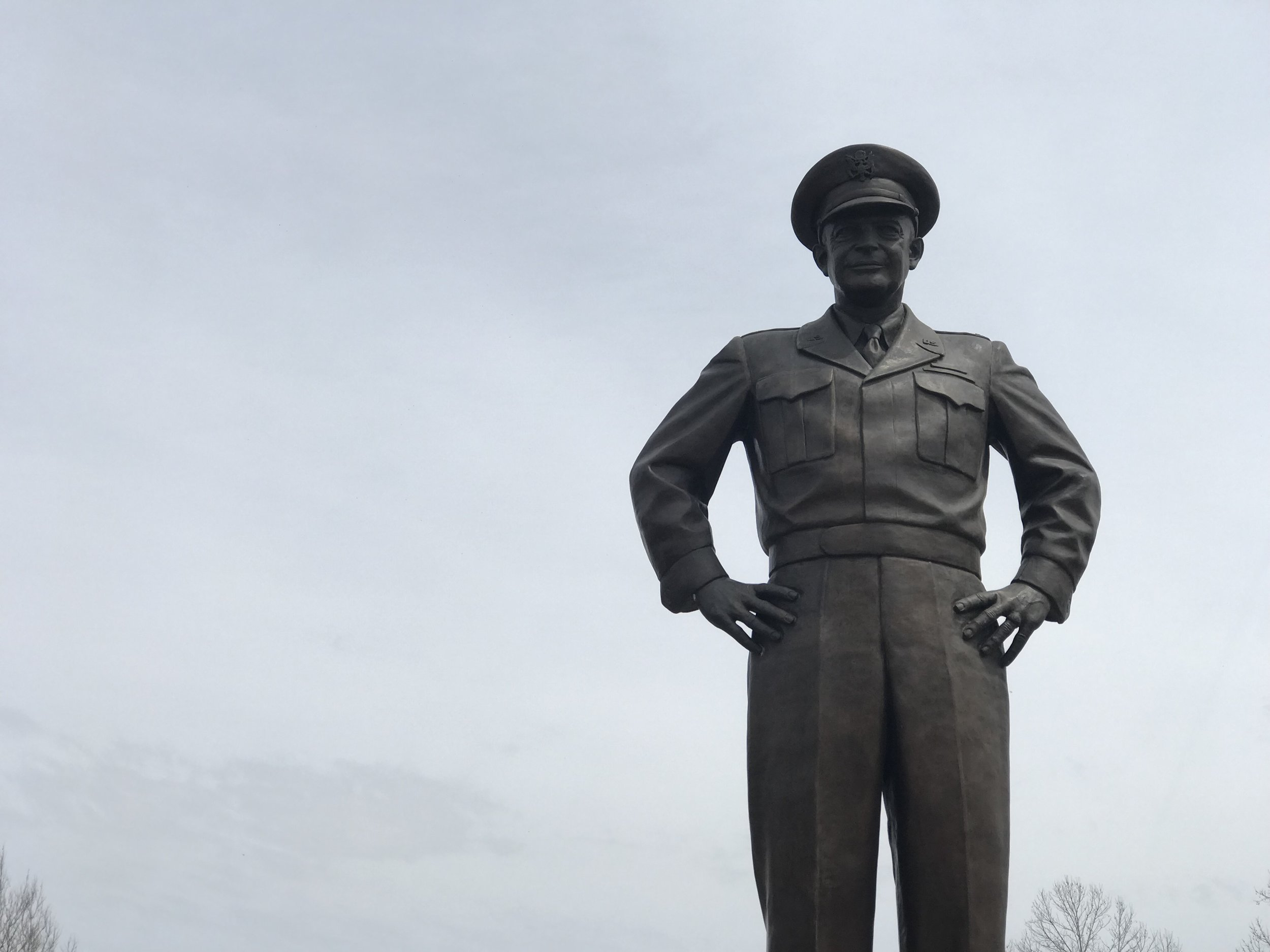 Gen. Dwight D. Eisenhower looms over the plaza at the Eisenhower Presidential Library and Museum in Abilene, Kansas.
