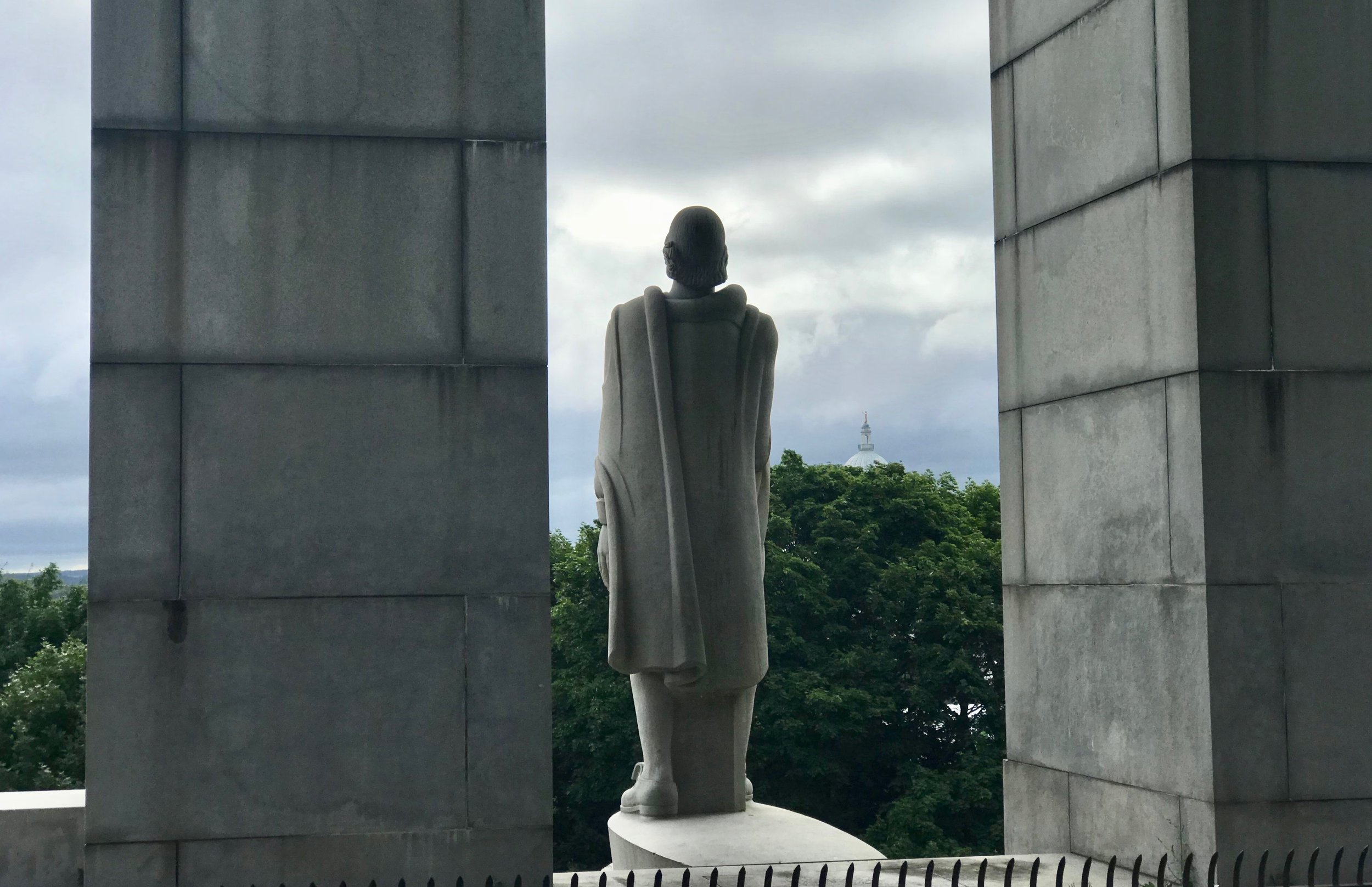A statue representing Roger Williams (there is no historical description of his appearance) looks out over Providence, R.I., the city he founded as a refuge from religious persecution.