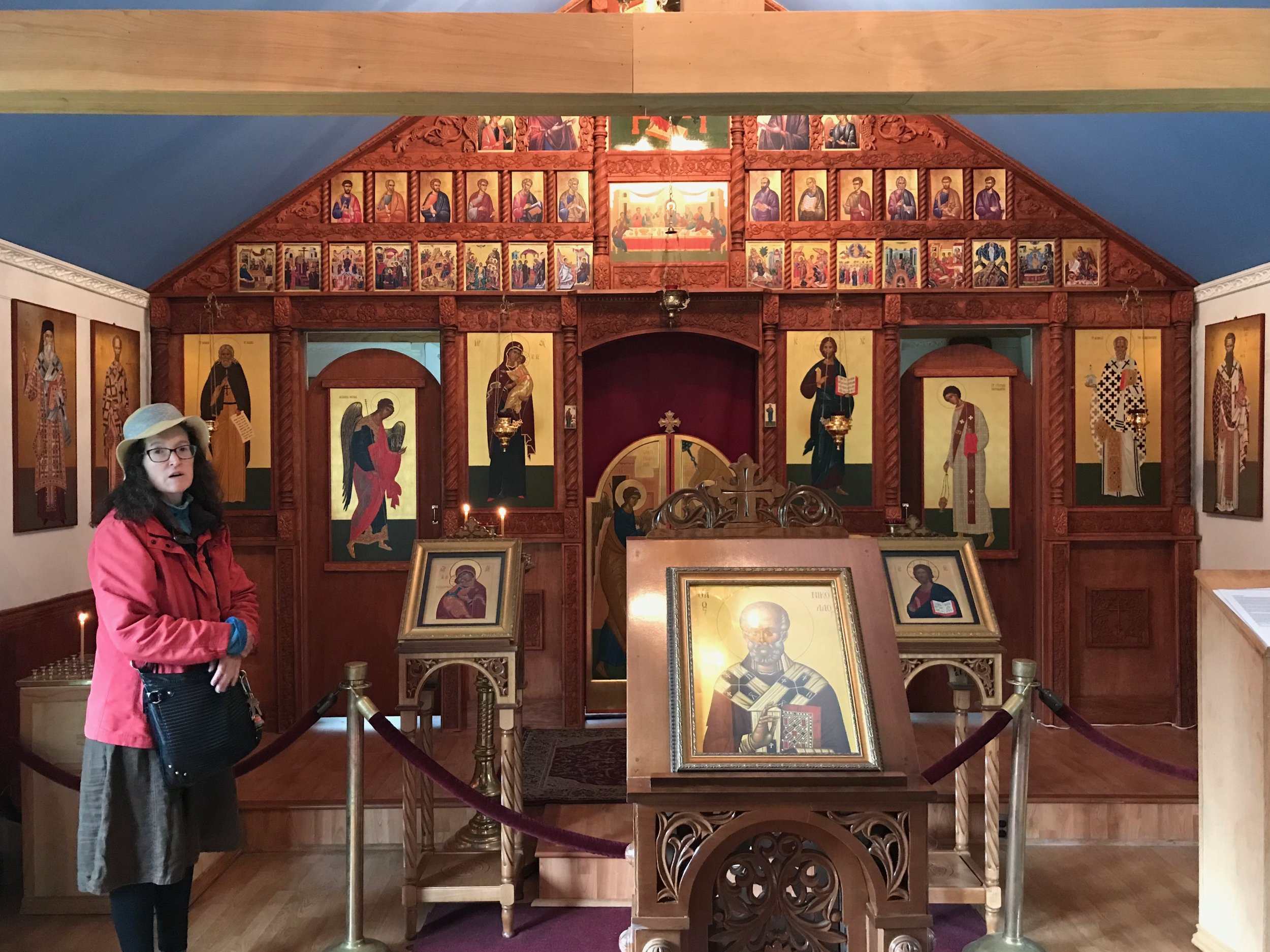 A guide describes the icons inside the Russian Orthodox Church in Elutna, Alaska.