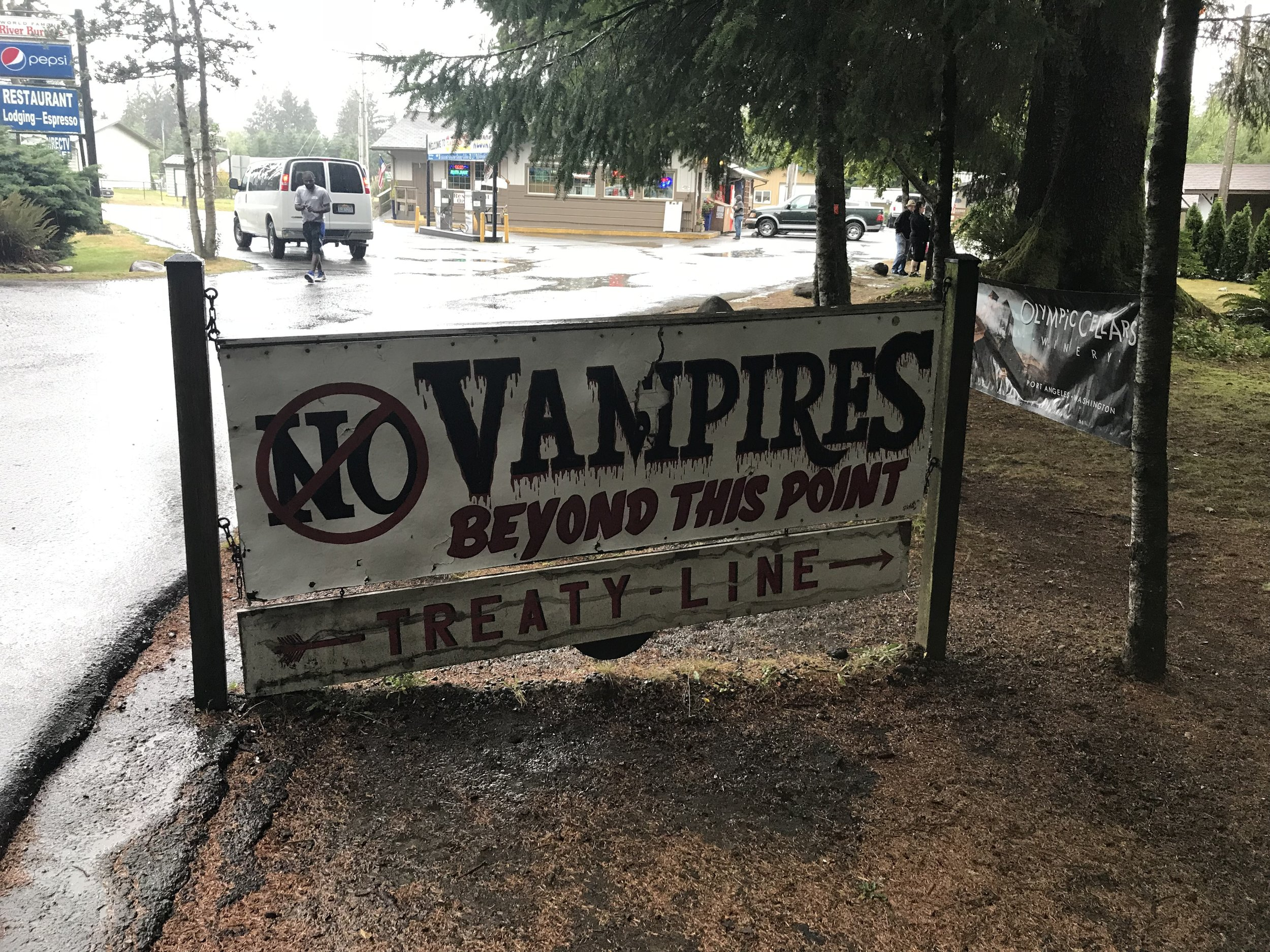 """A sign near Forks, Wash., the setting for the """"Twilight"""" series of novels and films, marks the boundary between territories controlled by vampires and werewolves."""