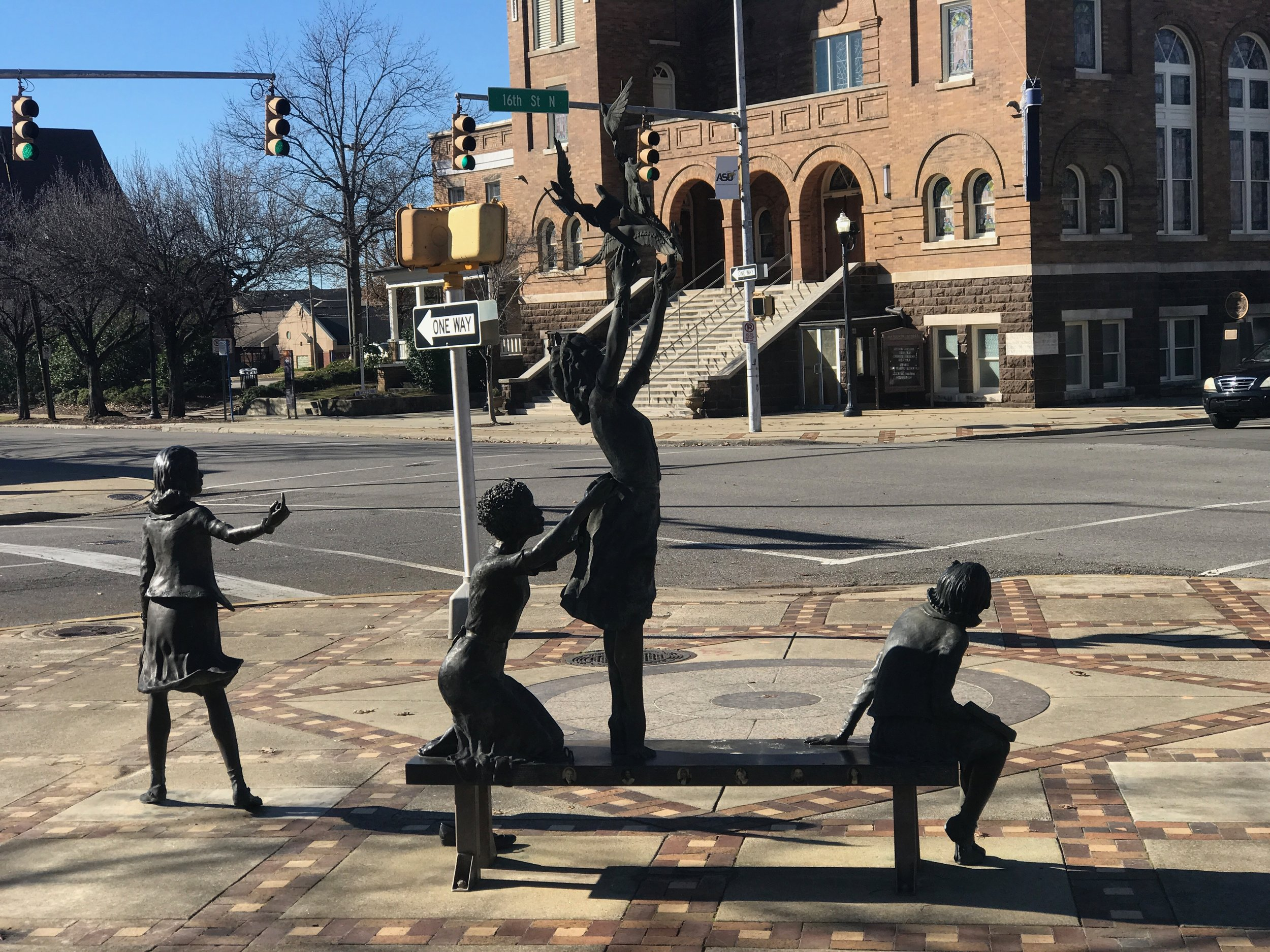 In Birmingham, a sculpture across from the 16th Street Baptist Church honors girls killed in a bombing there during civil rights protests.