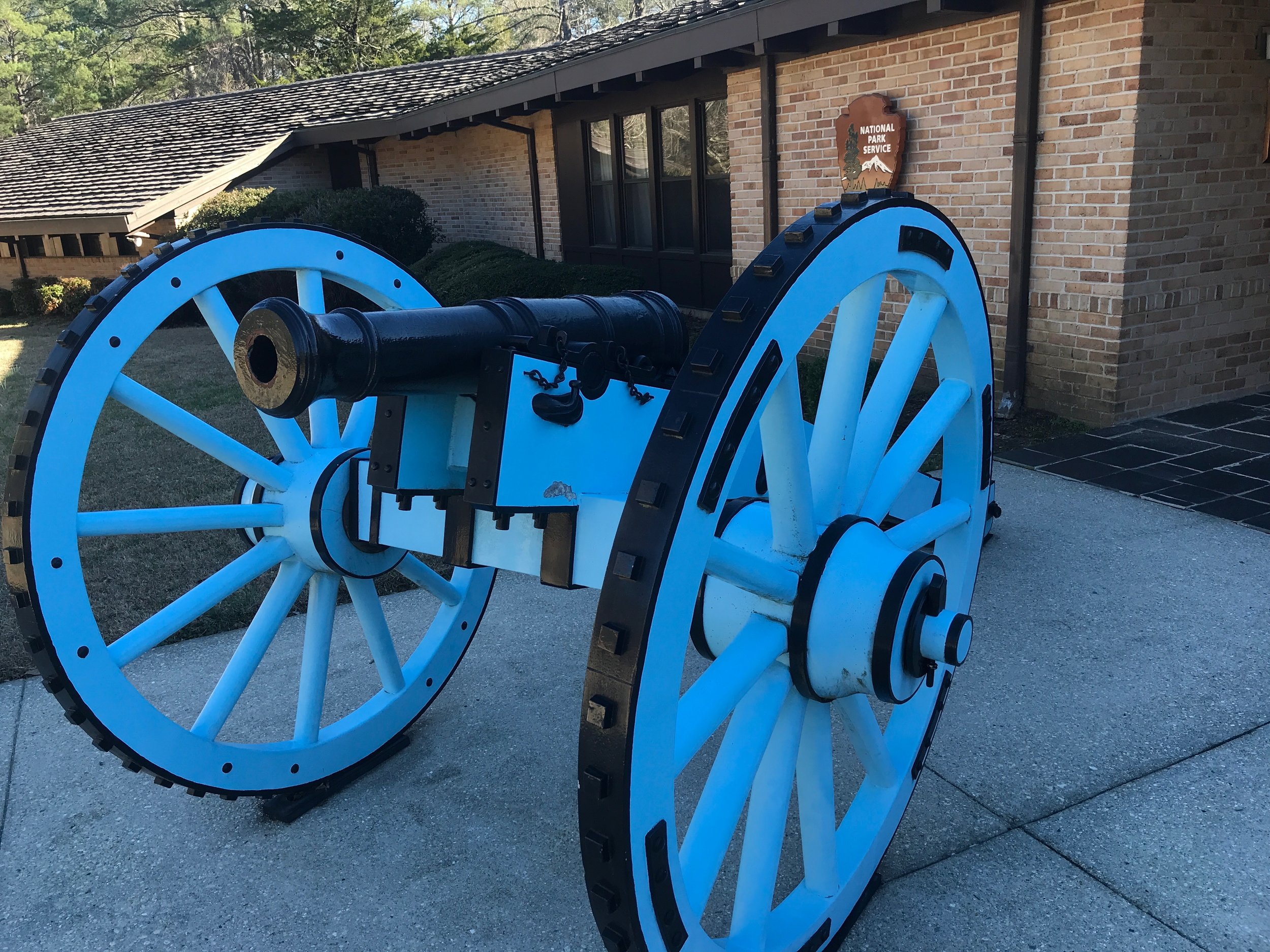 A cannon like those used by Americans is on display at the Horseshoe Bend National Military Park. Influenced by France, a sign nearby explains, cannon carriages were painted light blue between the American Revolution and the Civil War.