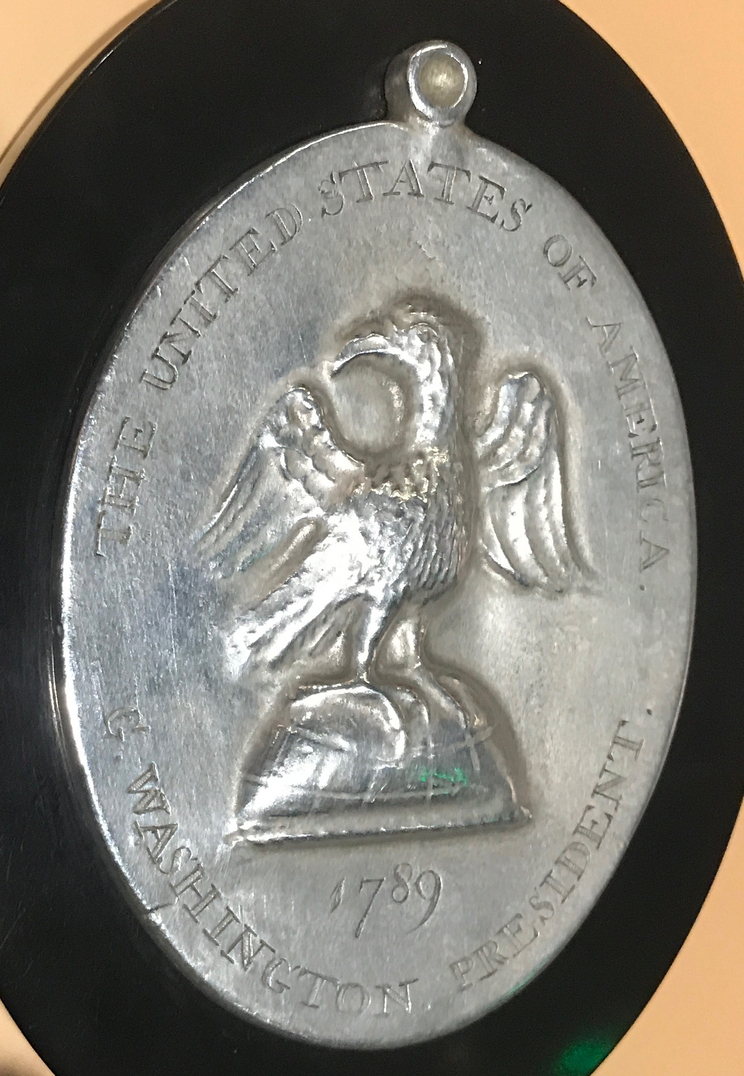 A medal given to the Creek Indians for negotiating a treaty with George Washington, found in 1929 near the Tallapoosa River, is on display at the Museum of Alabama in Montgomery.