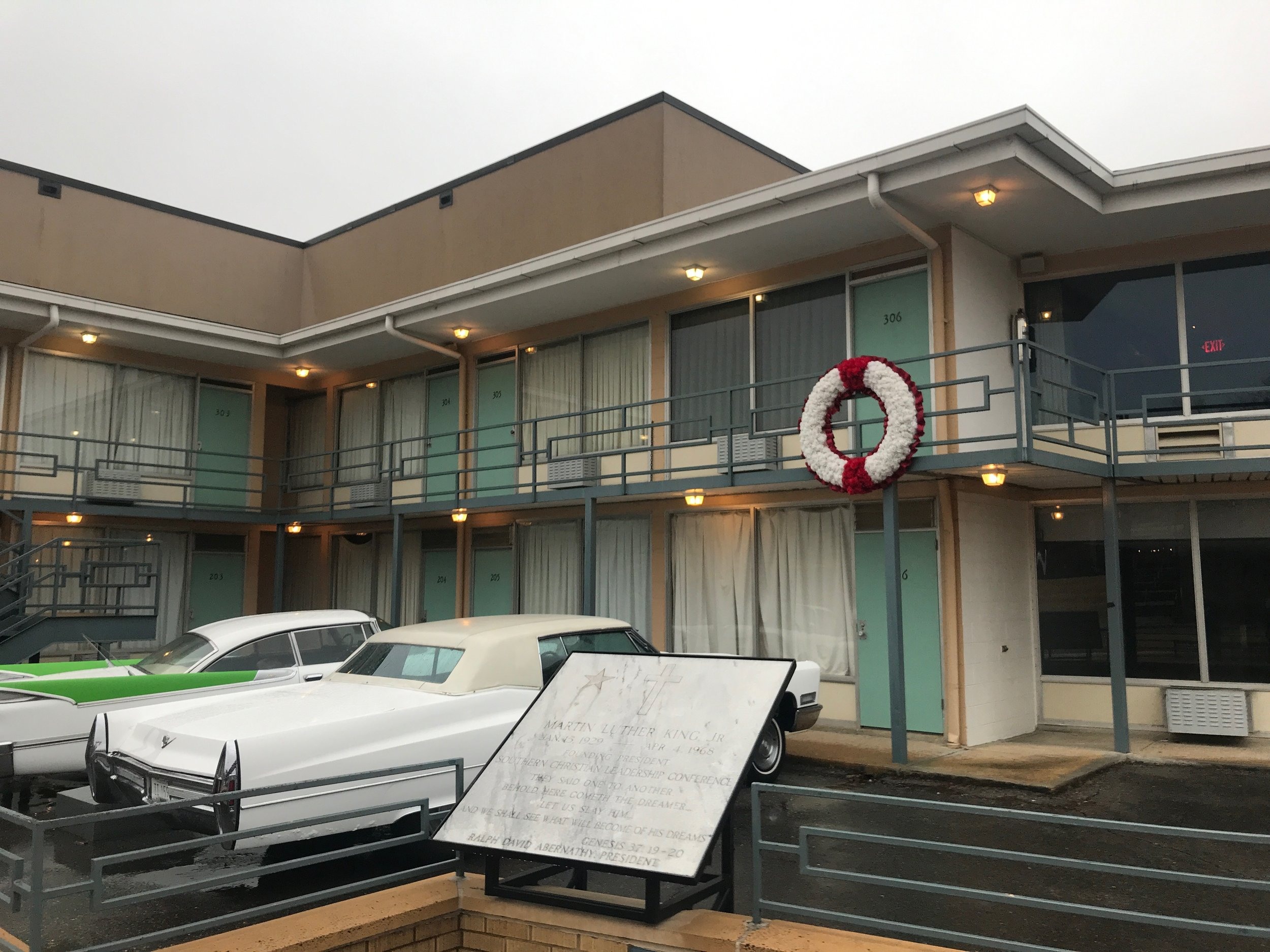 A wreath hangs on the spot in the Lorraine Motel in Memphis where Martin Luther King Jr. was assassinated. The motel is now the National Museum of Civil Rights.