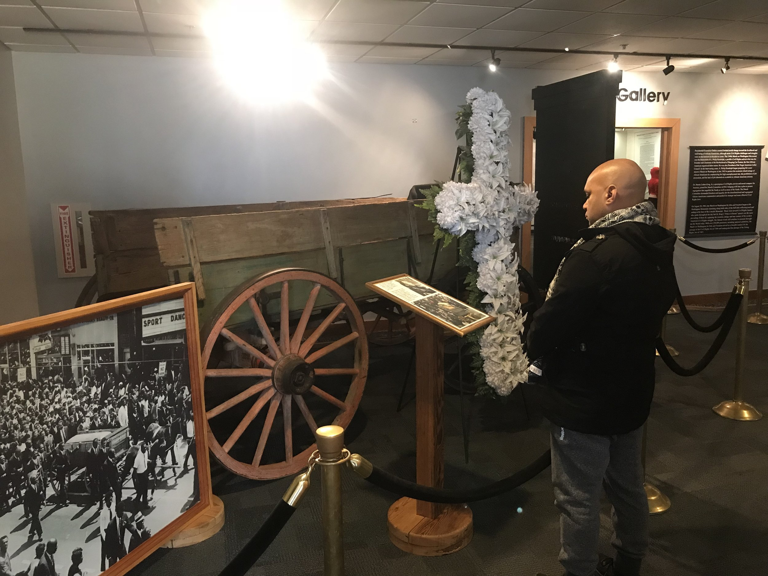 The carriage that carried the casket holding Rev. Martin Luther King Jr. after his funeral, on display at the King National Historic Site in Atlanta.