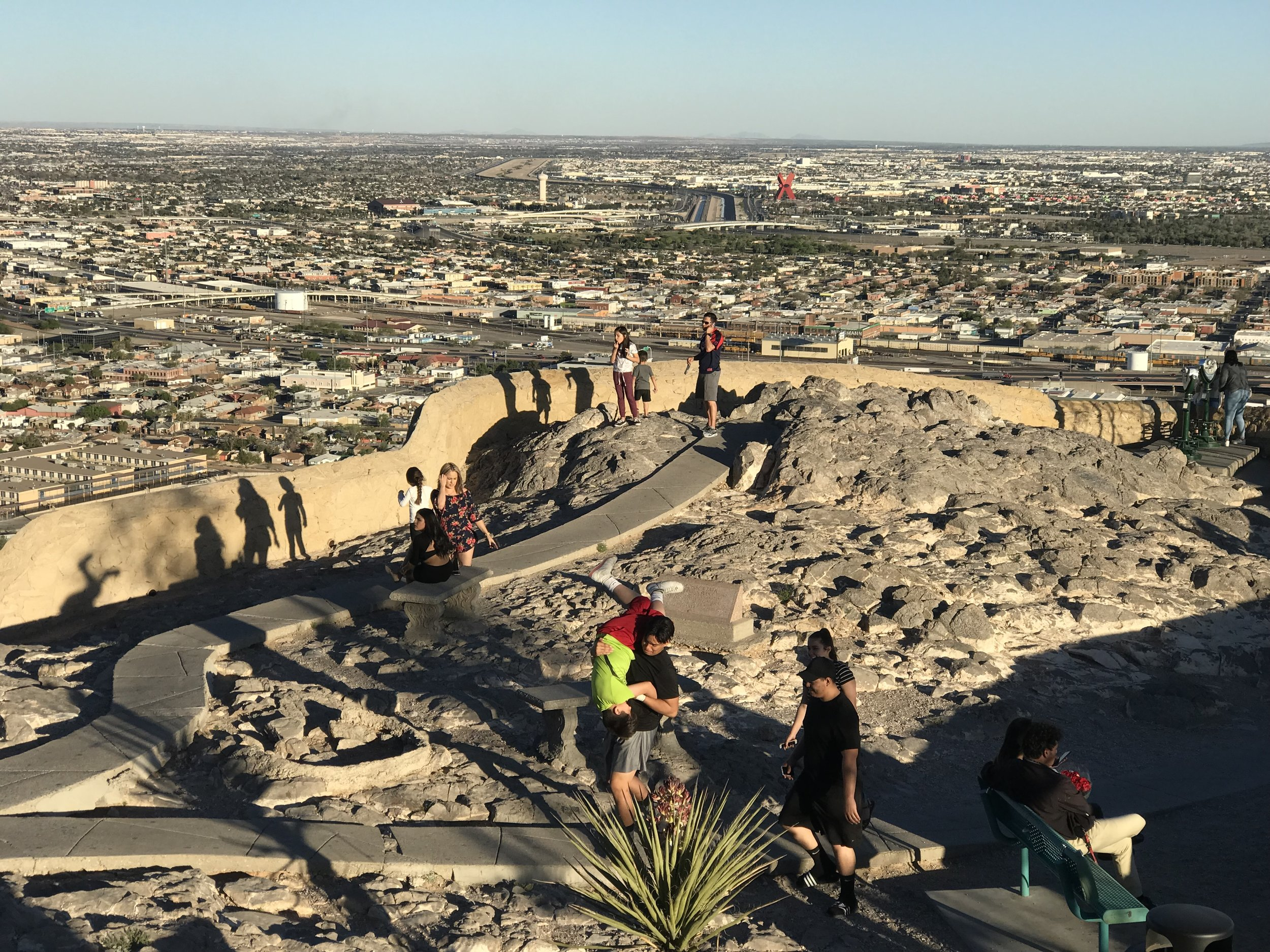 The view of the Rio Grande Valley from the Franklin Mountains north of El Paso. The X-shaped Monumento a la Mexicaneidad is on the Juarez side of the border.