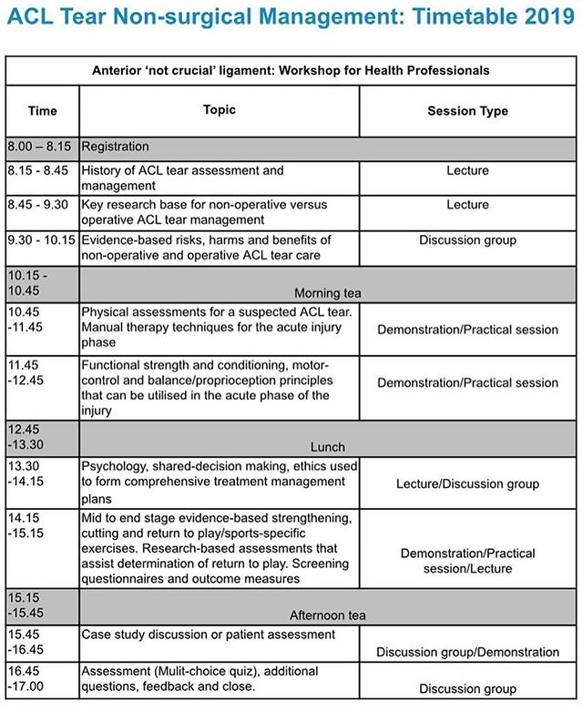 ** Adelaide ACL non-surgical management workshop Sunday June 16th – tickets selling fast! ** • Just a couple of weeks to go until our workshop in Adelaide, where we are teaming up with Wahib and the team from Kinetic Rehabilitation! Below is the timetable for the day, where we will cover: • 👉 History of ACL tear management 👉 Current best evidence of both non-operative and operative approaches 👉 Strategies for the initial phase of the injury 👉 Return to play considerations 👉 Case Examples! • Get tickets at the early bird rate ASAP through the bio link!