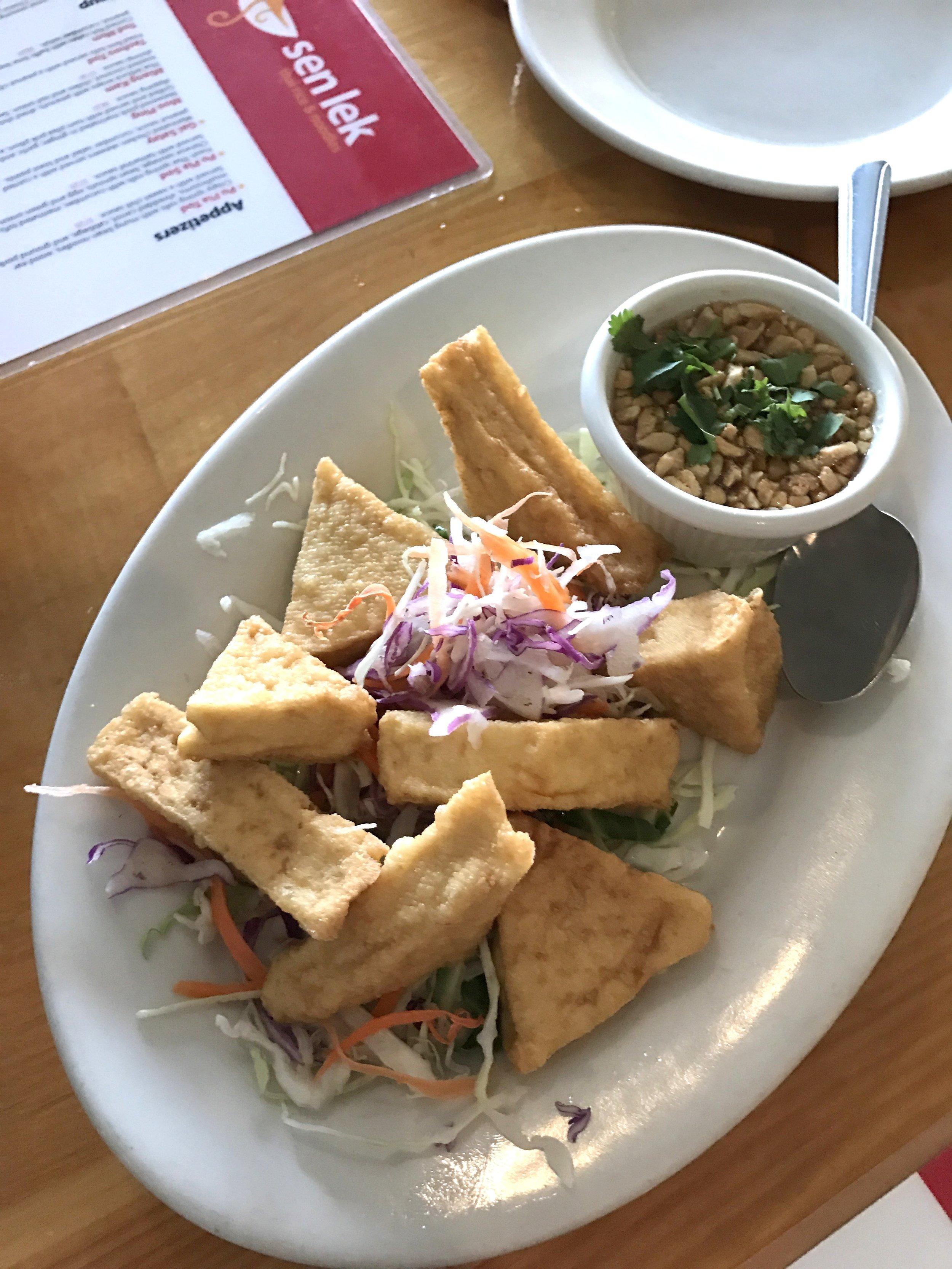 Taohoo Tod: Fried firm tofu with a peanut cilantro chili sauce
