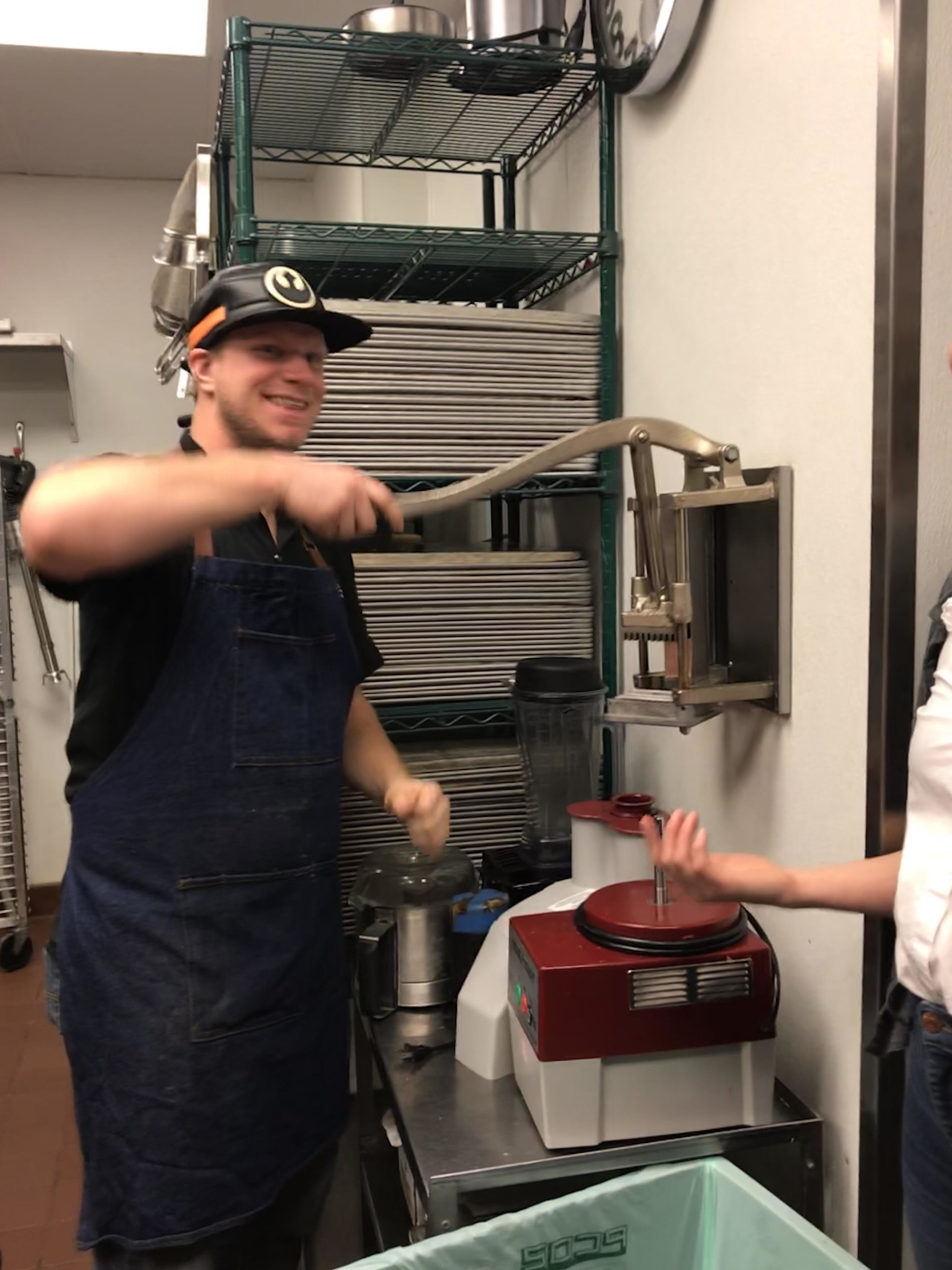 The next time you stop in, you might notice Chef Dan, working behind the scenes or in the kitchen to whip up whatever delectable menu item you order that day. Fun fact: his favorite kitchen tool is this fry cutter.