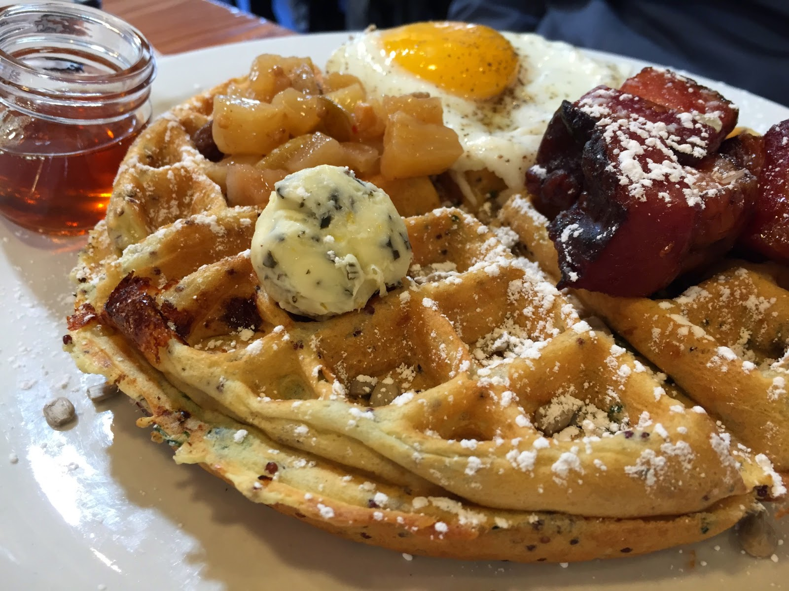 The savory waffle is so popular it generates 11% of Birchwood Cafe's income on a regular basis.  Photo: E. Owens