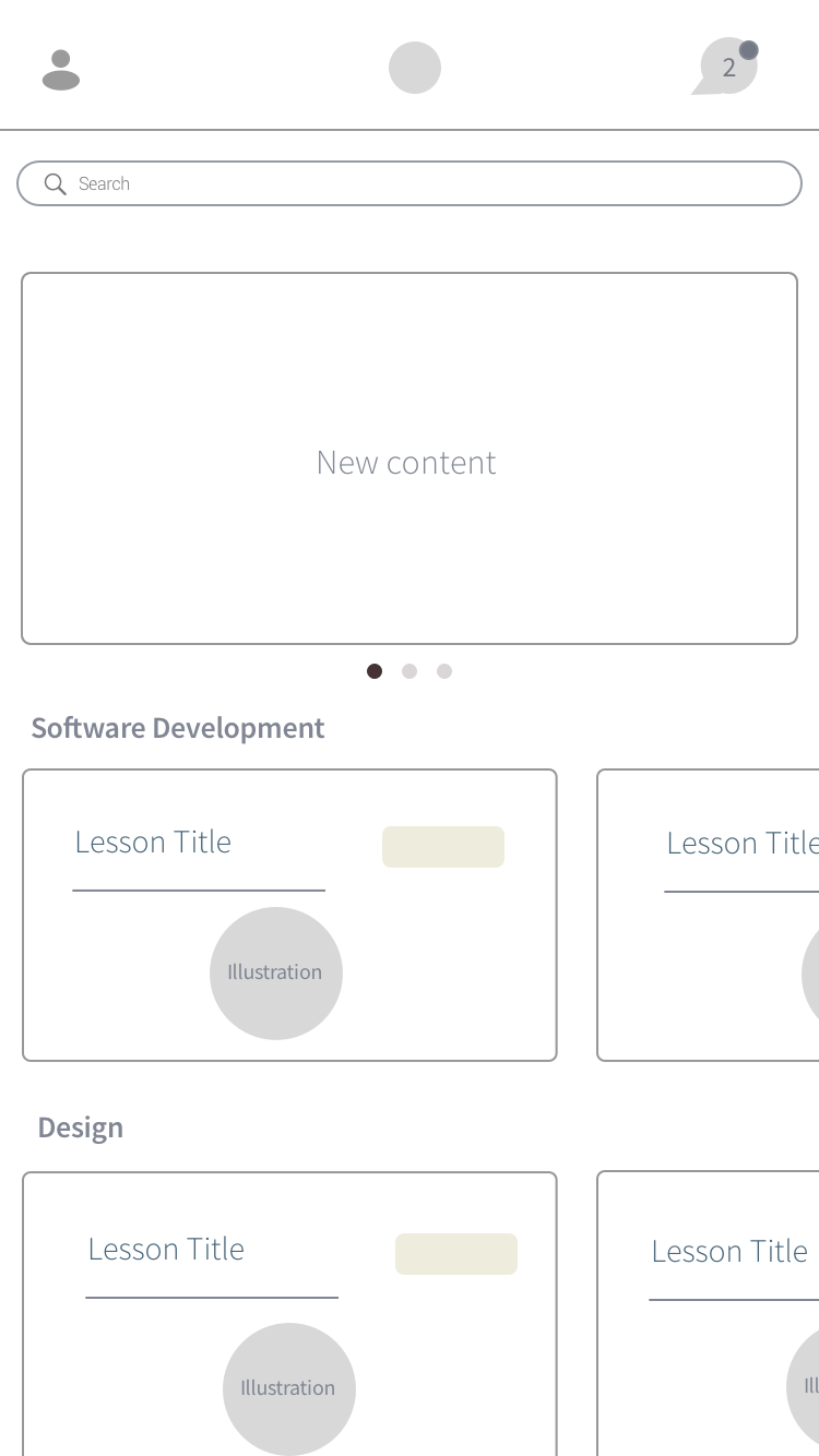 1. Home -  the card format helps the user to flip through content quickly