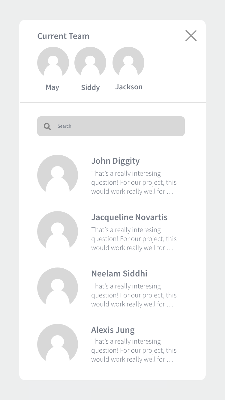 5. Chat Window - the user can select quickly to send it to their current team members to contextualize learning but engage in dialogue to build understanding