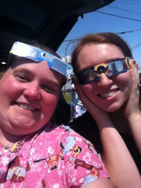 Lisa & Brandy - Having a little fun during the solar eclipse.