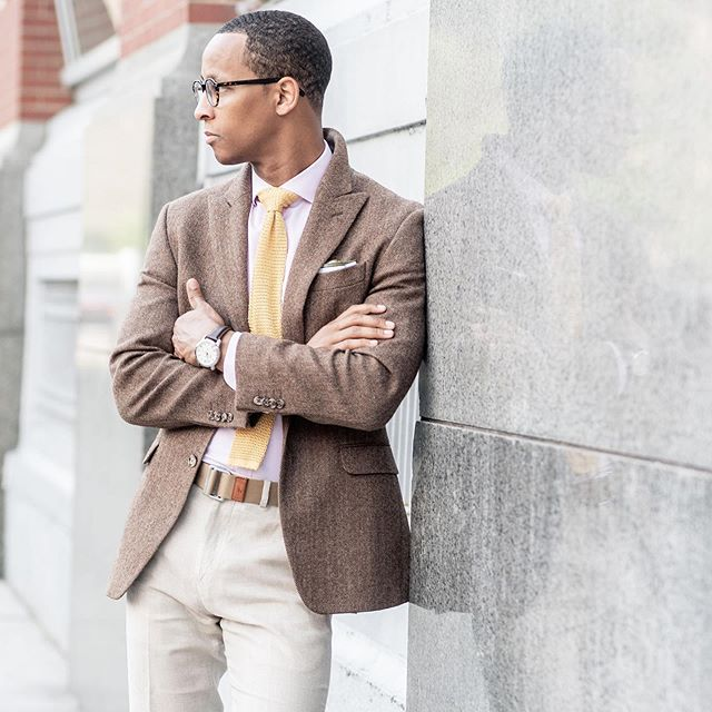 Another nice blend; tweed, silk, cotton and linen. Just keep your colors light and try some no show socks to stay cool! . Imagery   @weltheimages  Shoes   @idereselabel  Trousers    @brooksbrothers  Tie, belt, jacket @poloralphlauren  Frames   @warbyparker  Watch   @fossil . #JustNick #NickArrington