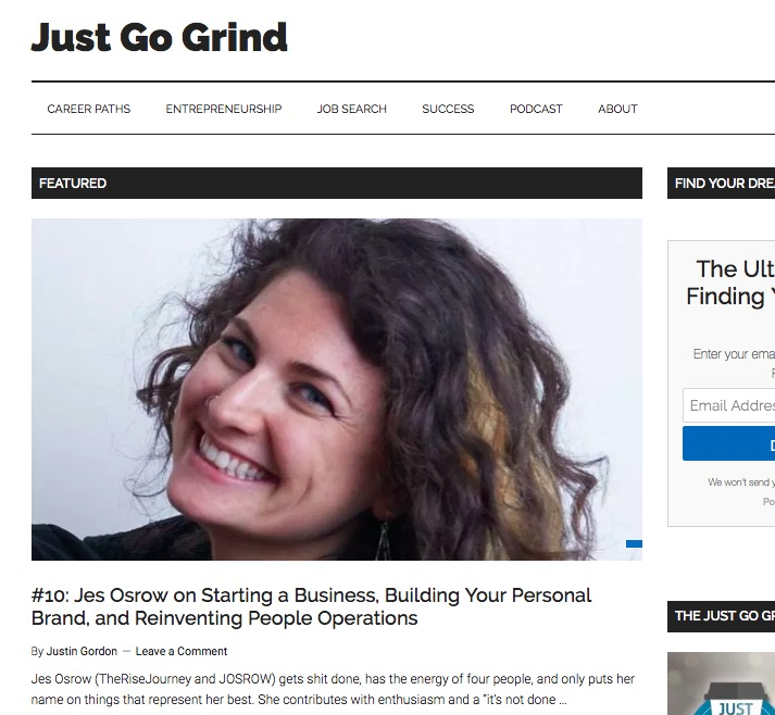 Jes Osrow on Starting a Business, Building Your Personal Brand, and Reinventing People Operations - Just Go Grind: Jes Osrow on Starting a Business, Building Your Personal Brand, and Reinventing People Operations