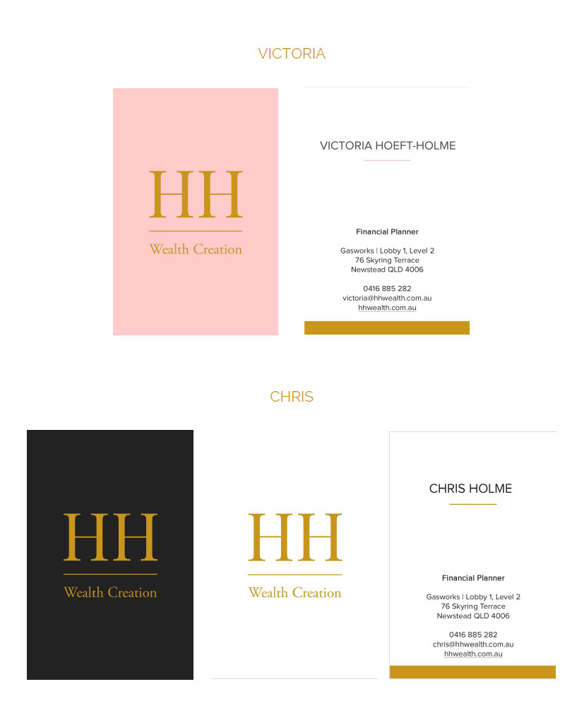 HH Wealth business cards | On Port 80 Webdesign, Brisbane