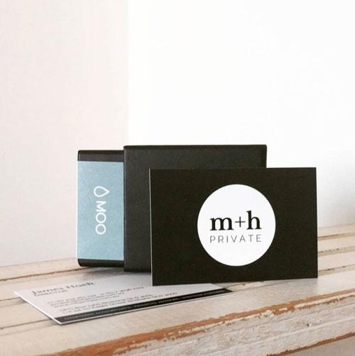Moo business cards for m+h private, On Port 80 Brand & Web Design, Brisbane, Australia