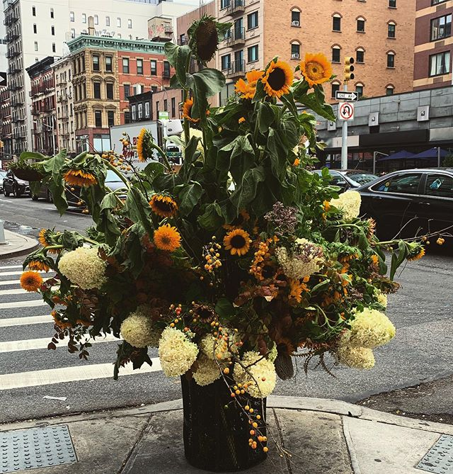 Thank God for artists! Every morning you're trekking to your job, the city smells like hot garbage all the time and people don't know which way to walk on the sidewalk. If it weren't for beautiful moments like this, we'd all probably go insane. Bouquet by @lewismillerdesign when I saw this I thought I was hallucinating.