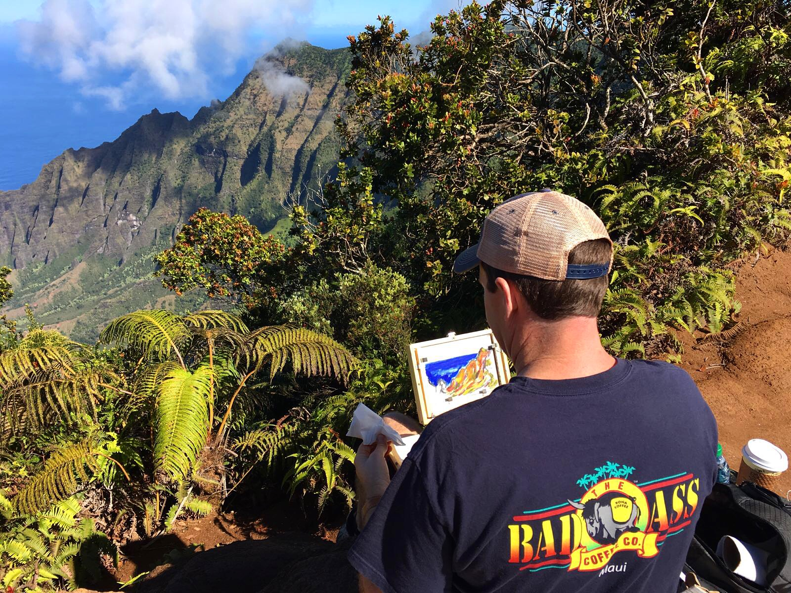 Plein air painting at the Pu'u O Kila lookout on the island of Kauai. This is Eric's happy spot.