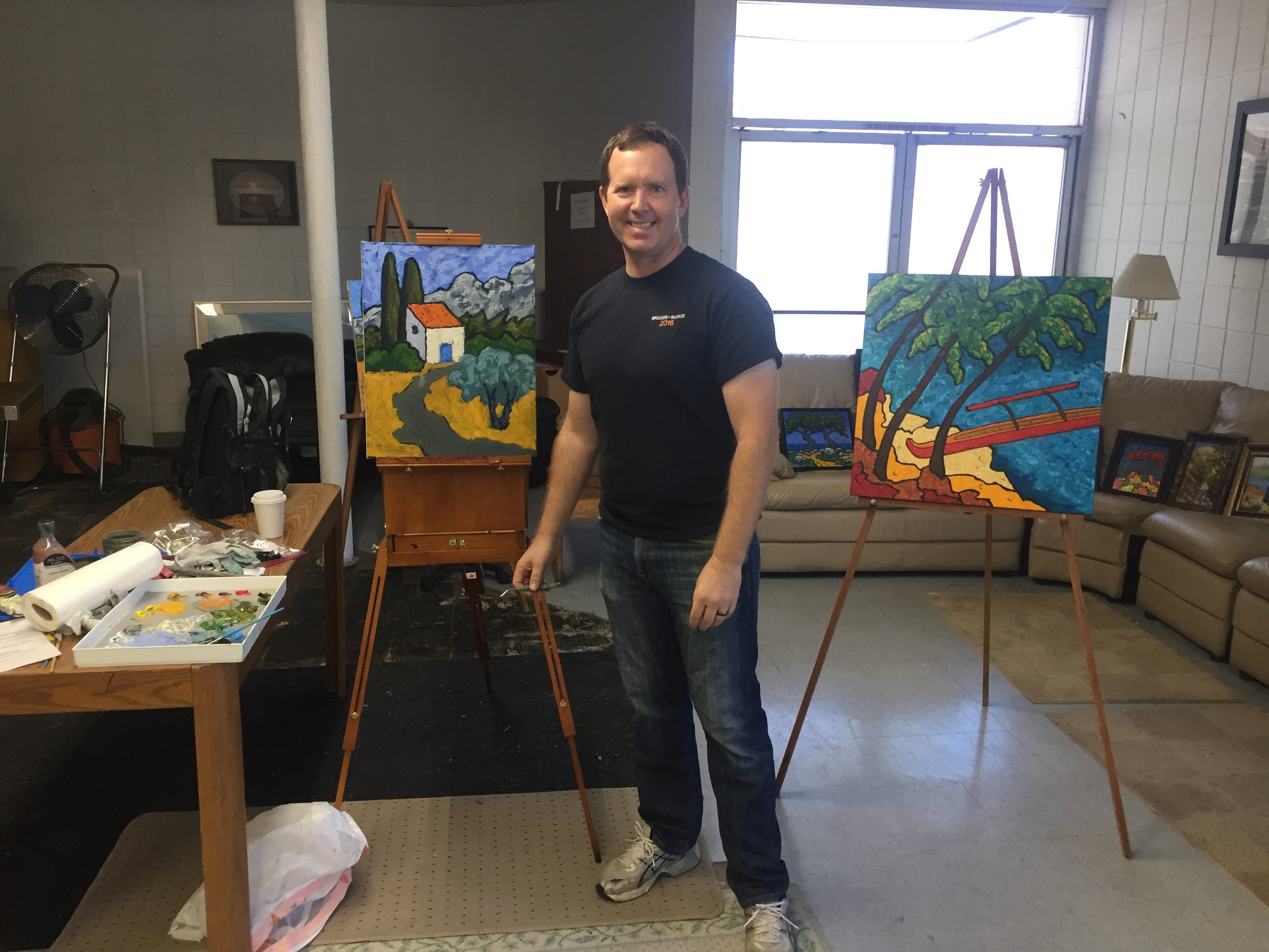 Giving a painting demonstration to the Saratoga Contemporary Artist group.