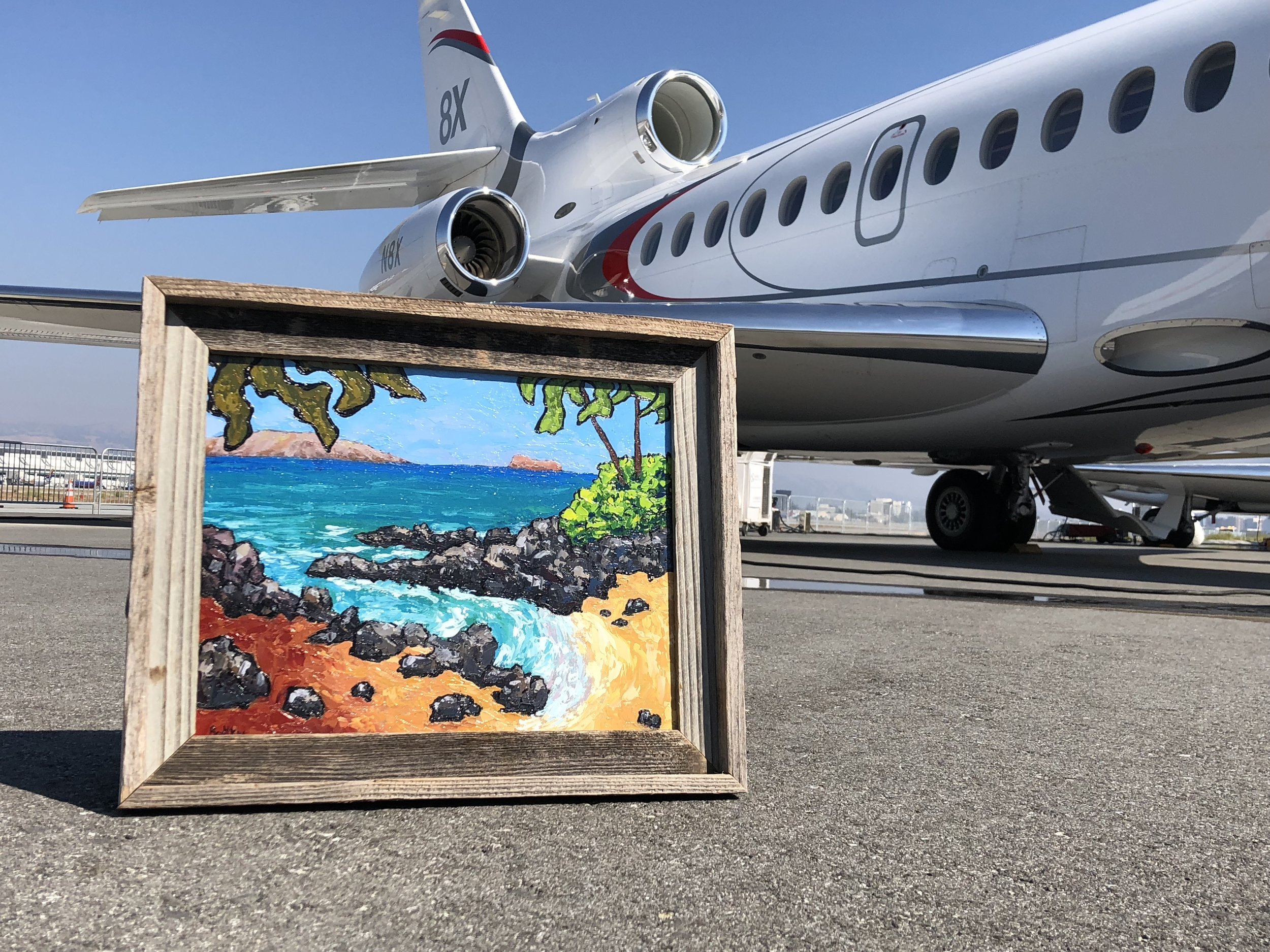 This Dassault Falcon 8X can easily fly to Maui which is this the location of this painting.  Heck…it can also fly non-stop to Italy if that's where one prefers to go from San Jose.