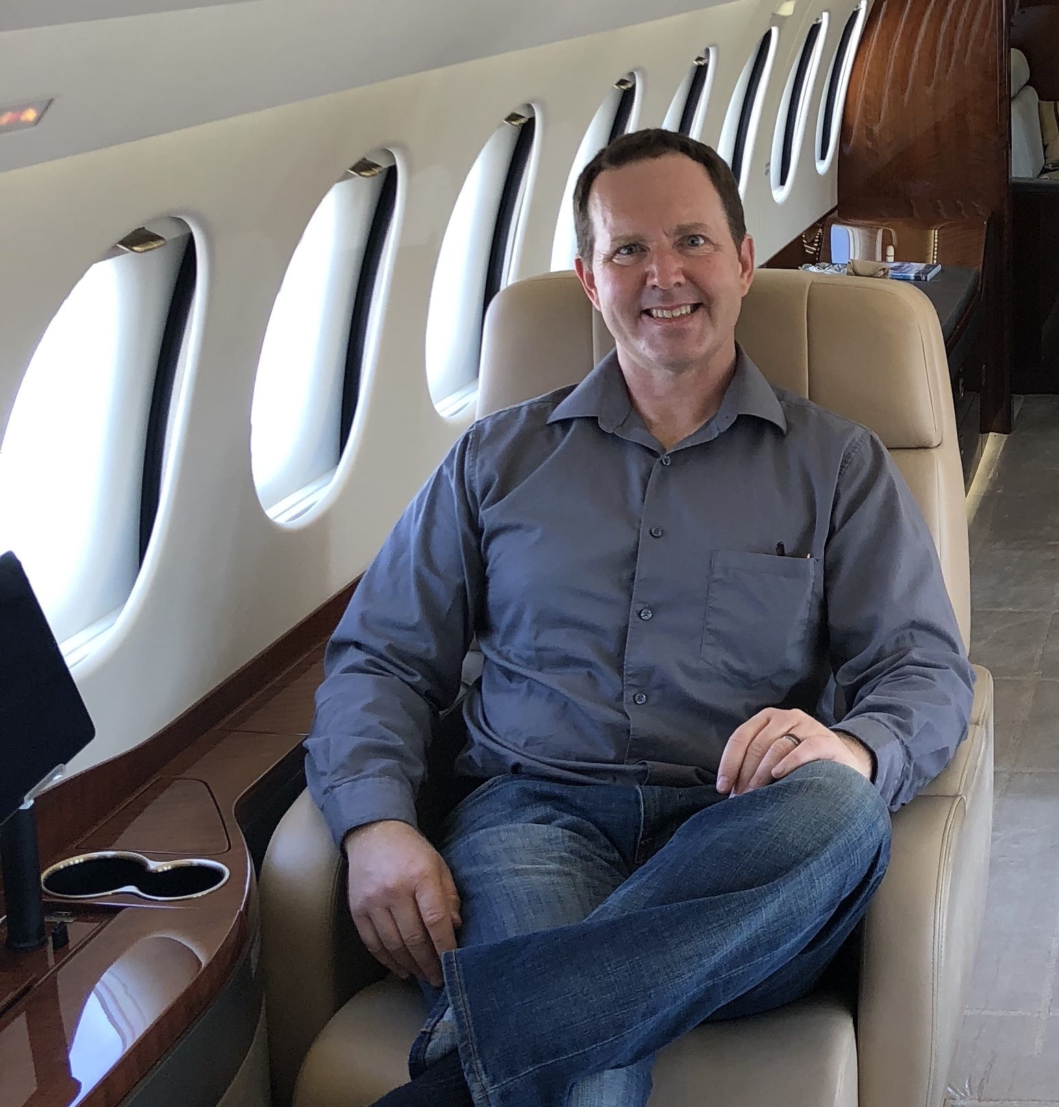 I could get use to flying like this.  In the Dassault Falcon 8X.