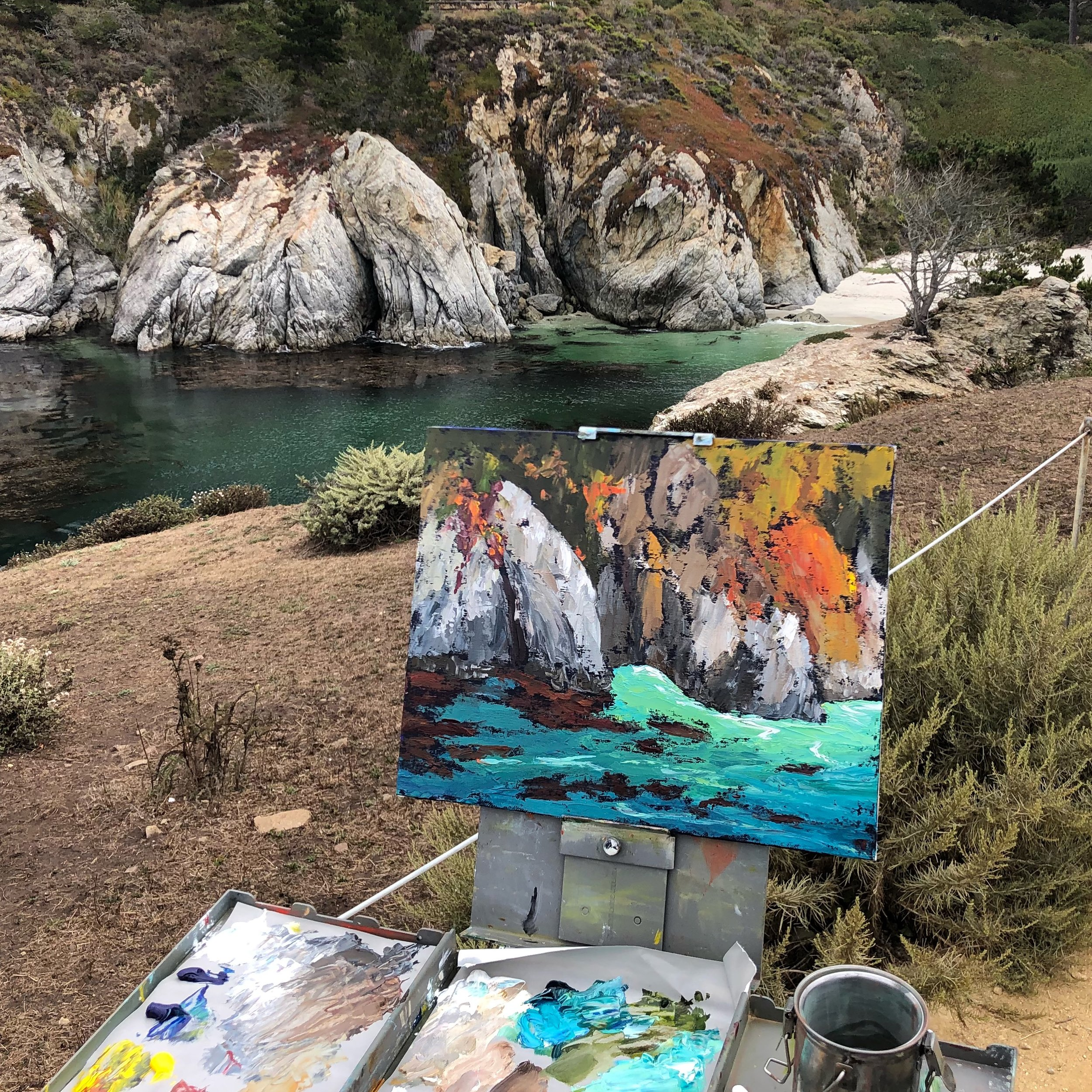 Plein Air painting at Point Lobos. This was actually my second painting at this spot.  I was with a group of artists and the first painting I worked on for almost two hours just wasn't working.  With 30 minutes to go before our group was to meet and critique each others work, I grabbed my palette knife and knocked this out.  Funny how sometimes the paintings I make knowing there's not much time to make them come out the best.