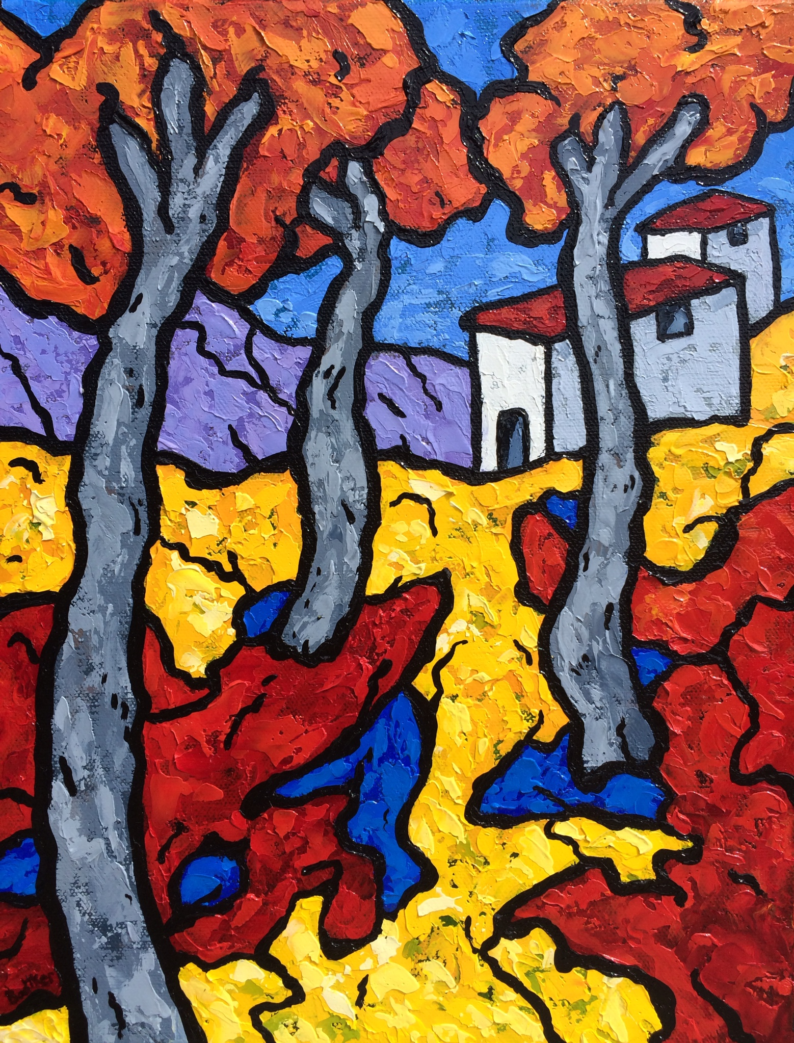 Bursting Fall Trees - 11x14