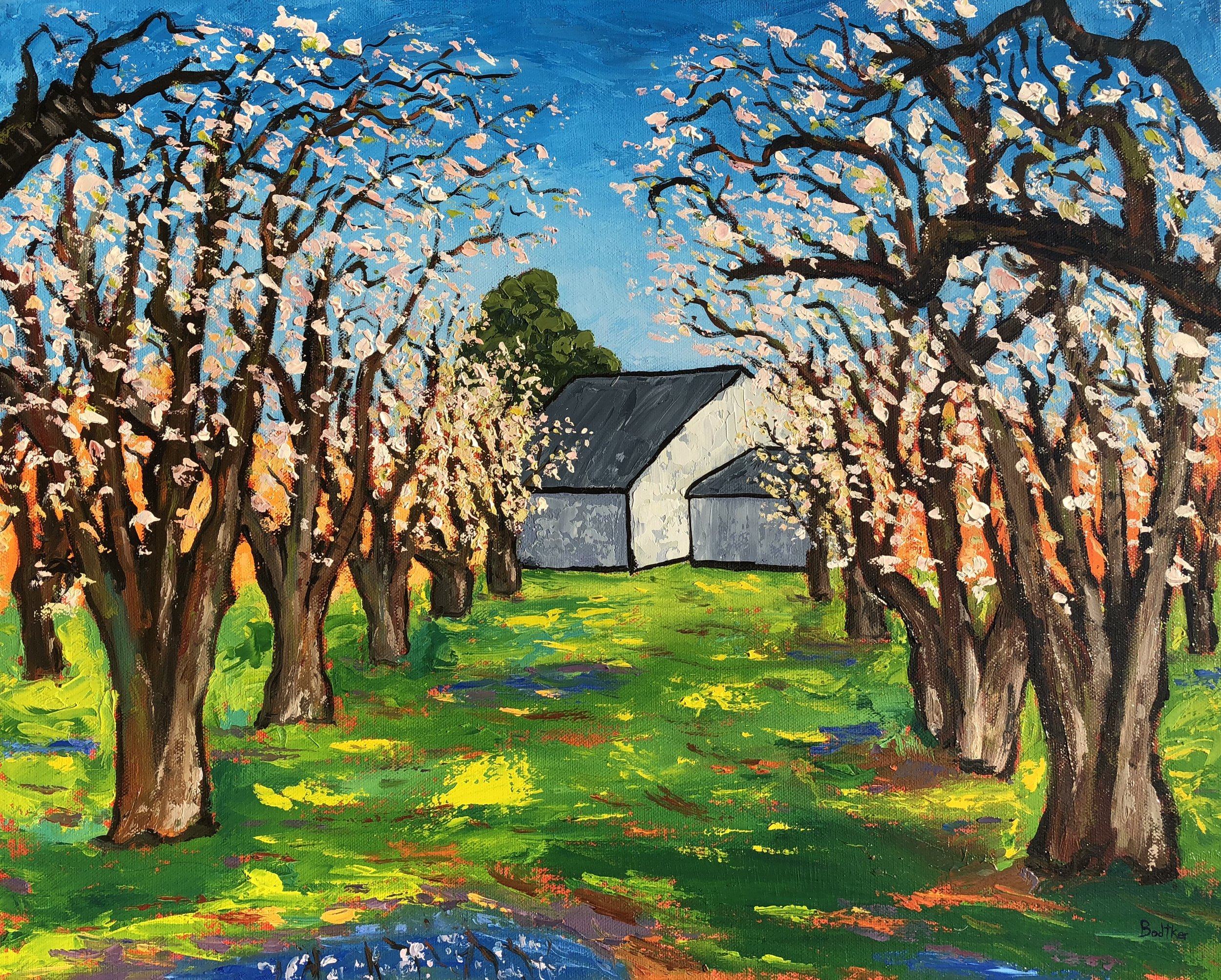 Blossoming Orchard and Barn - 16x20
