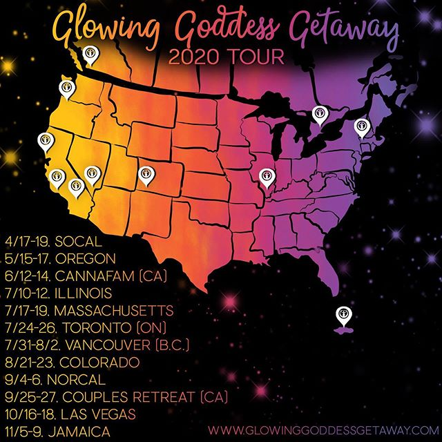 This is it!!! Dates have been finalized for our 2020 tour! We cannot wait to bring the Getaway to so many new locations and return to all our existing cannasister communities! Join us next year!! Tix will be available for ALL dates and locations by Oct 15th!! We cannot wait to glow away with YOU!!! #cannasistersforlife . . . . . #glowawaywithus #glowinggoddesses #glowinggoddessgetaway #2020tour #glowup #cannasisters #stonersisterhood #sistersesh #sisterseshsunday #cannacommunity #cannafam #stonergirls #womeninweed #kushqueens #ganjagoddess #ladystoner