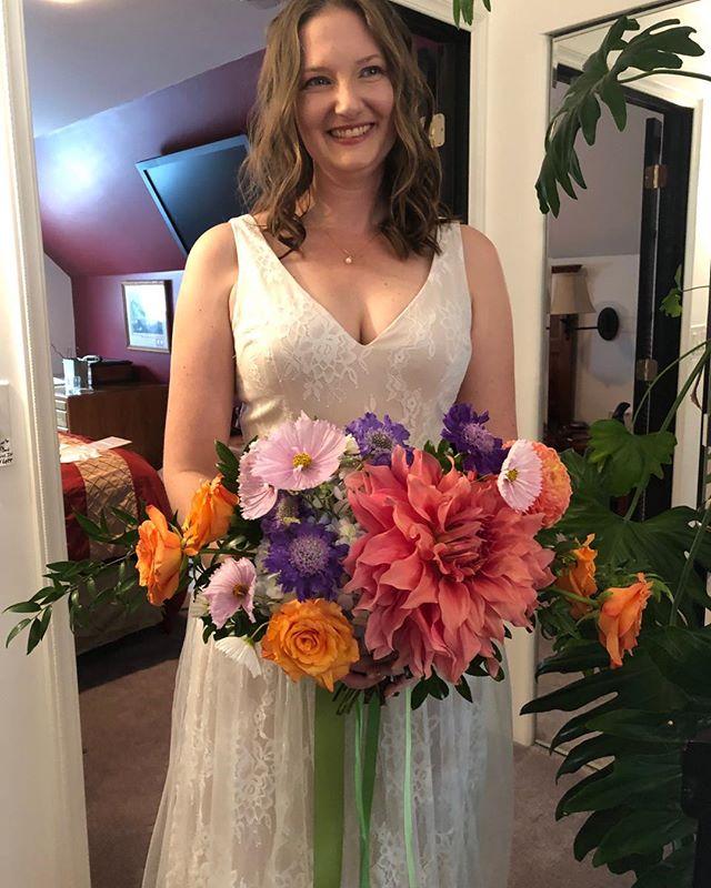 That quiet moment before the wedding begins. My beautiful niece got married yesterday. . . . . . #pugetsoundwedding #beautifulbride #dahliabridalbouquet #dahlias
