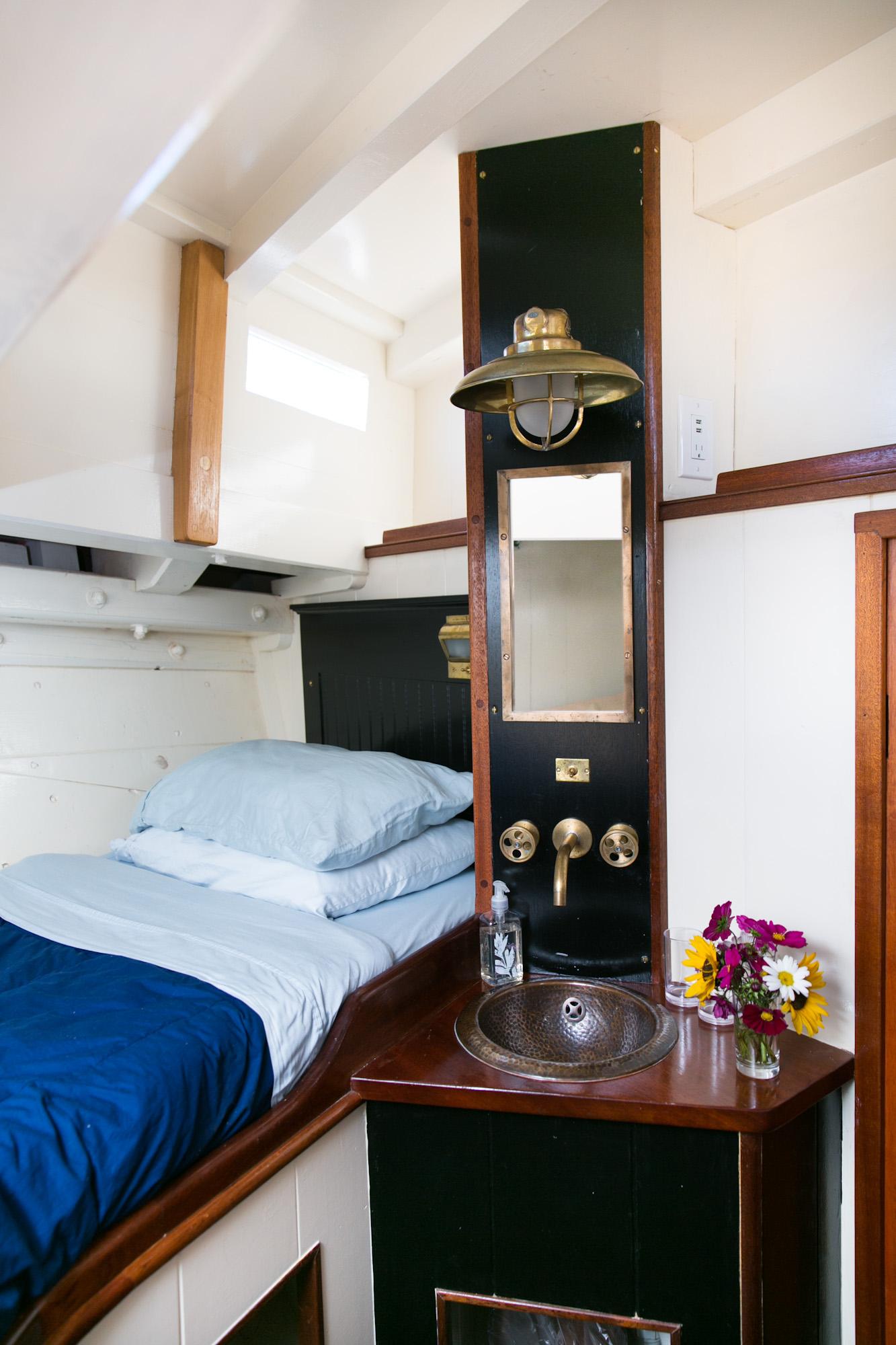Your home aboard   Ladona   –     light, bright, and fresh. Photo: Nadra Edgerley